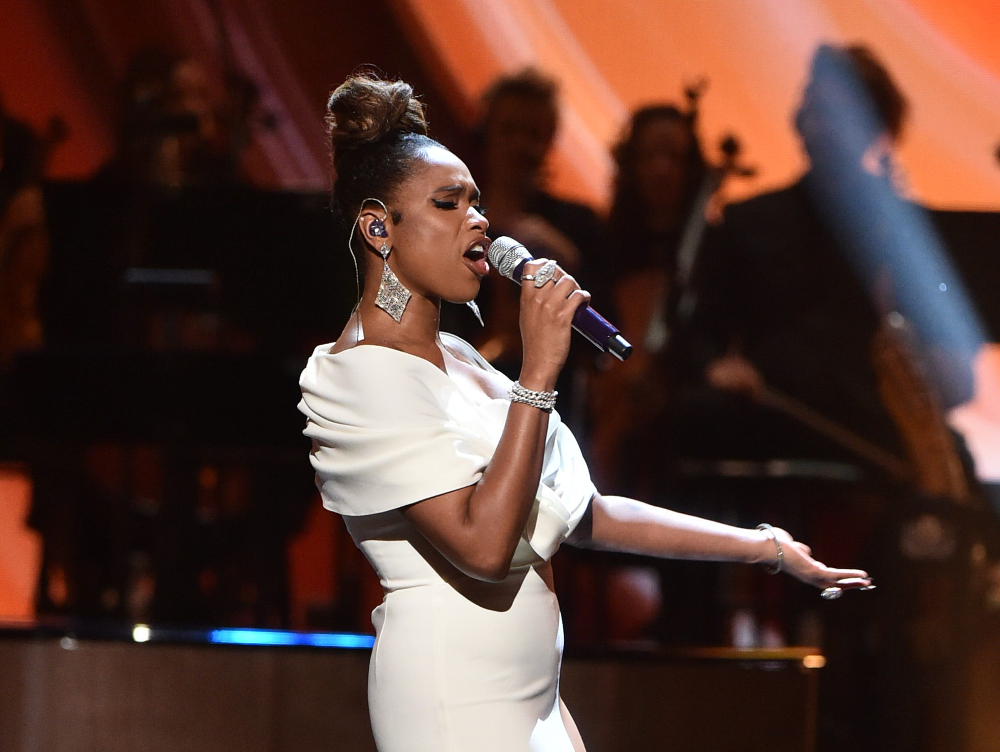 """LOS ANGELES, CA - JANUARY 13:  Jennifer Hudson performs at """"Aretha! A Grammy Celebration For the Queen Of Soul"""" at the Shrine Auditorium on Jan. 13, 2019, in Los Angeles, Calif."""