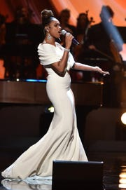 "Jennifer Hudson performs at ""Aretha! A Grammy Celebration for the Queen Of Soul"" at the Shrine Auditorium on Jan. 13, 2019, in Los Angeles."
