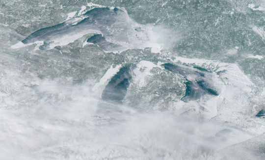 The Great Lakes look icy and chilly in this NOAA satellite image Friday, March 8, 2018