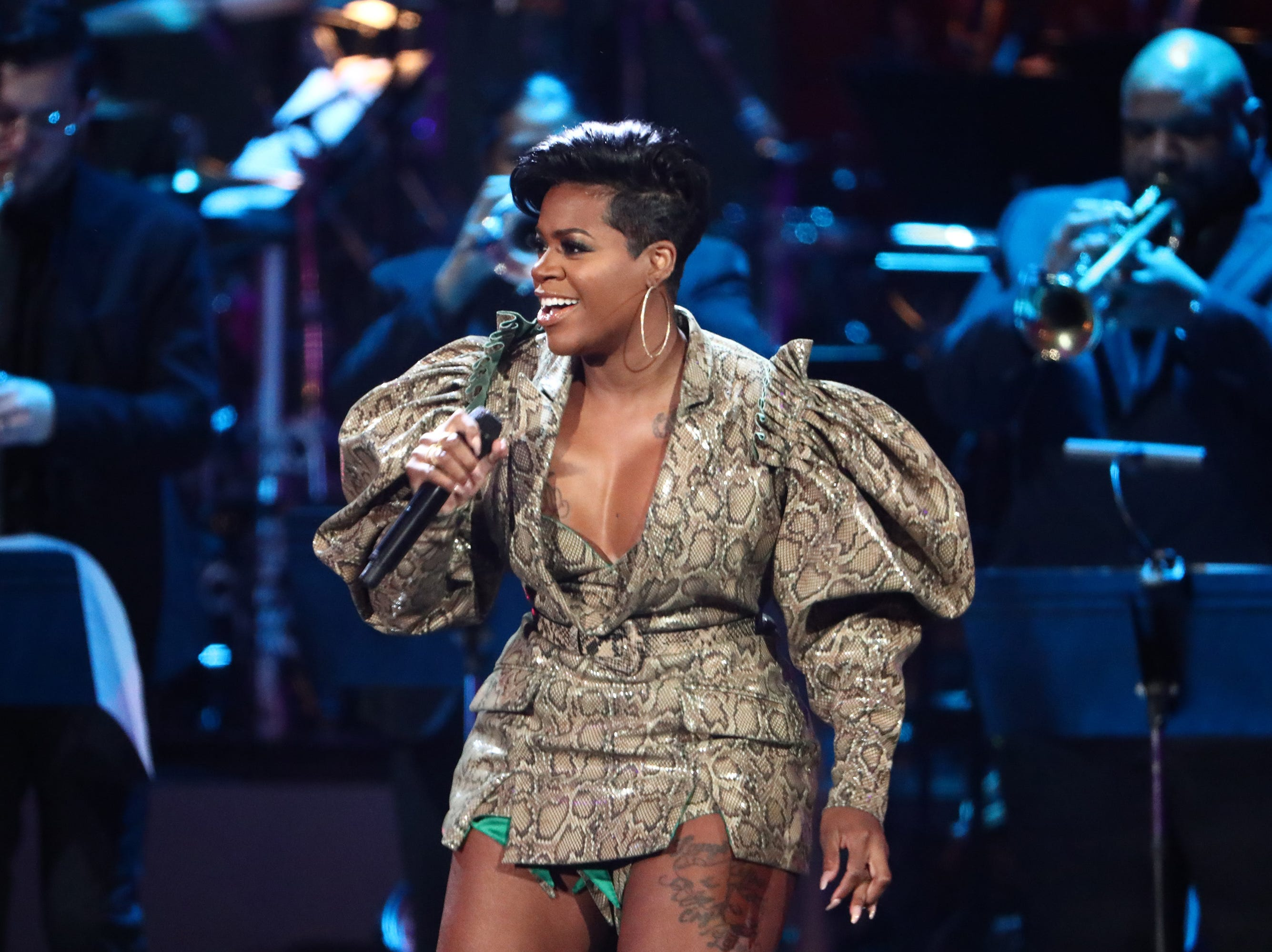 """LOS ANGELES, CA - JANUARY 13:  Fantasia performs at """"Aretha! A Grammy Celebration For the Queen Of Soul"""" at the Shrine Auditorium on Jan. 13, 2019, in Los Angeles, Calif."""