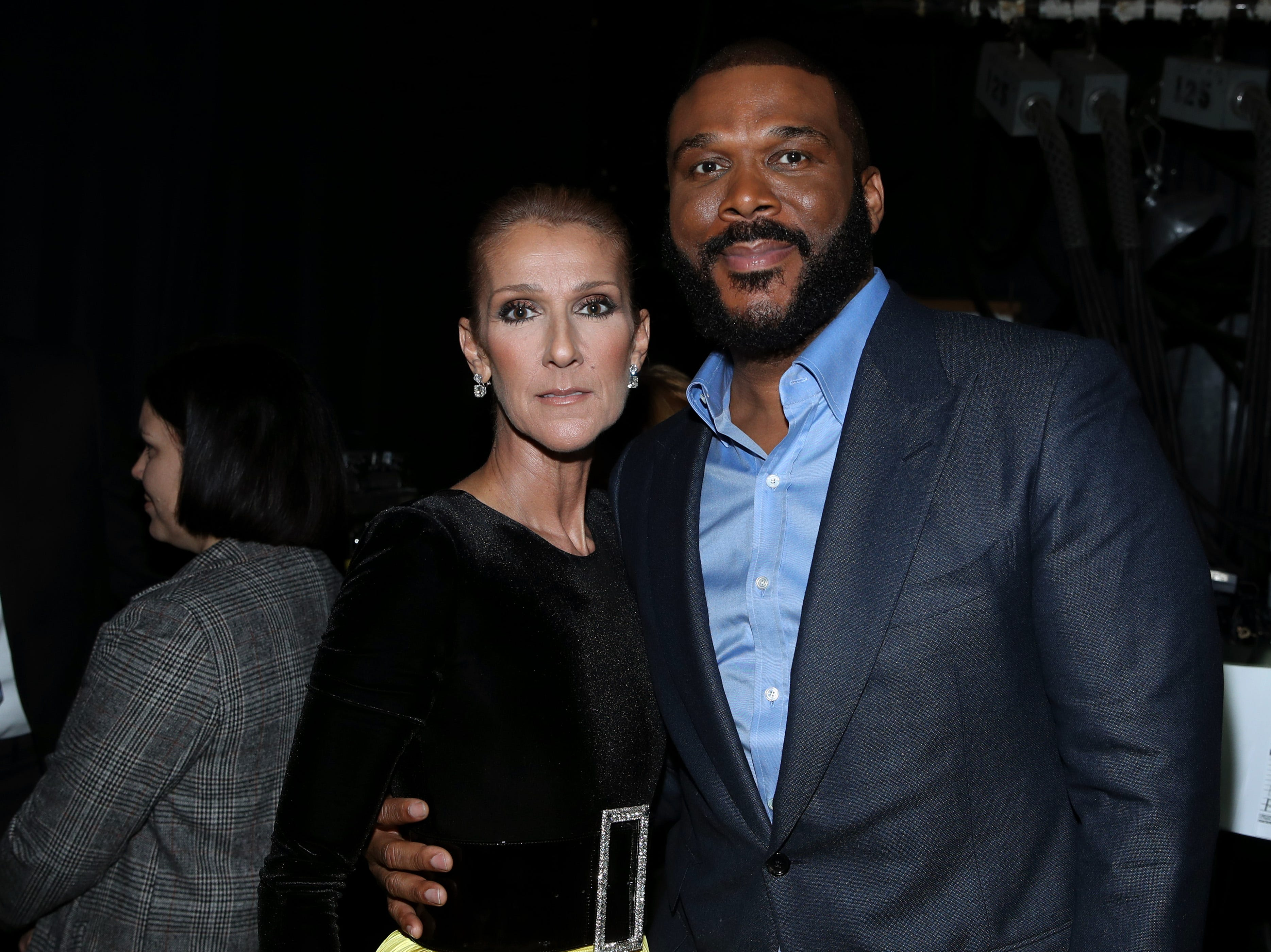 """LOS ANGELES, CA - JANUARY 13:  Celine Dion and Tyler Perry attend """"Aretha! A Grammy Celebration For the Queen Of Soul"""" at the Shrine Auditorium on Jan. 13, 2019, in Los Angeles, Calif."""