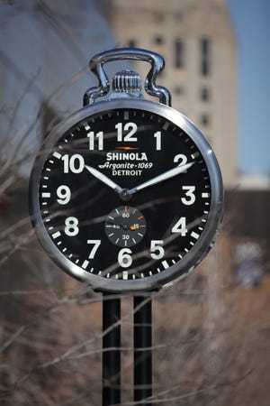 Shinola unveiled the first of four Shinola City Clocks at Cobo Center in Detroit on Friday, March 7, 2014.