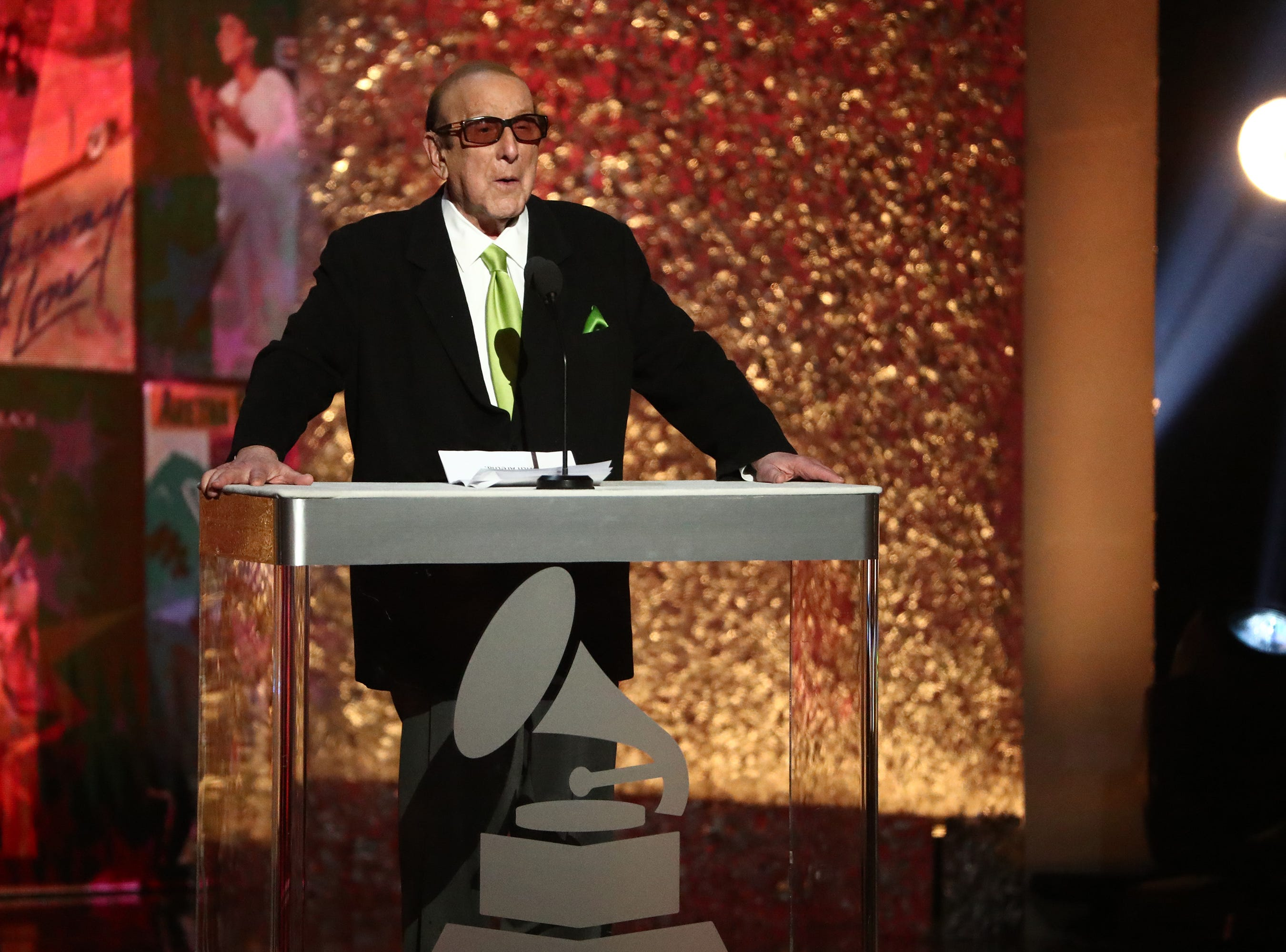 """LOS ANGELES, CA - JANUARY 13:  Clive Davis speaks at """"Aretha! A Grammy Celebration For the Queen Of Soul"""" at the Shrine Auditorium on Jan. 13, 2019, in Los Angeles, Calif."""