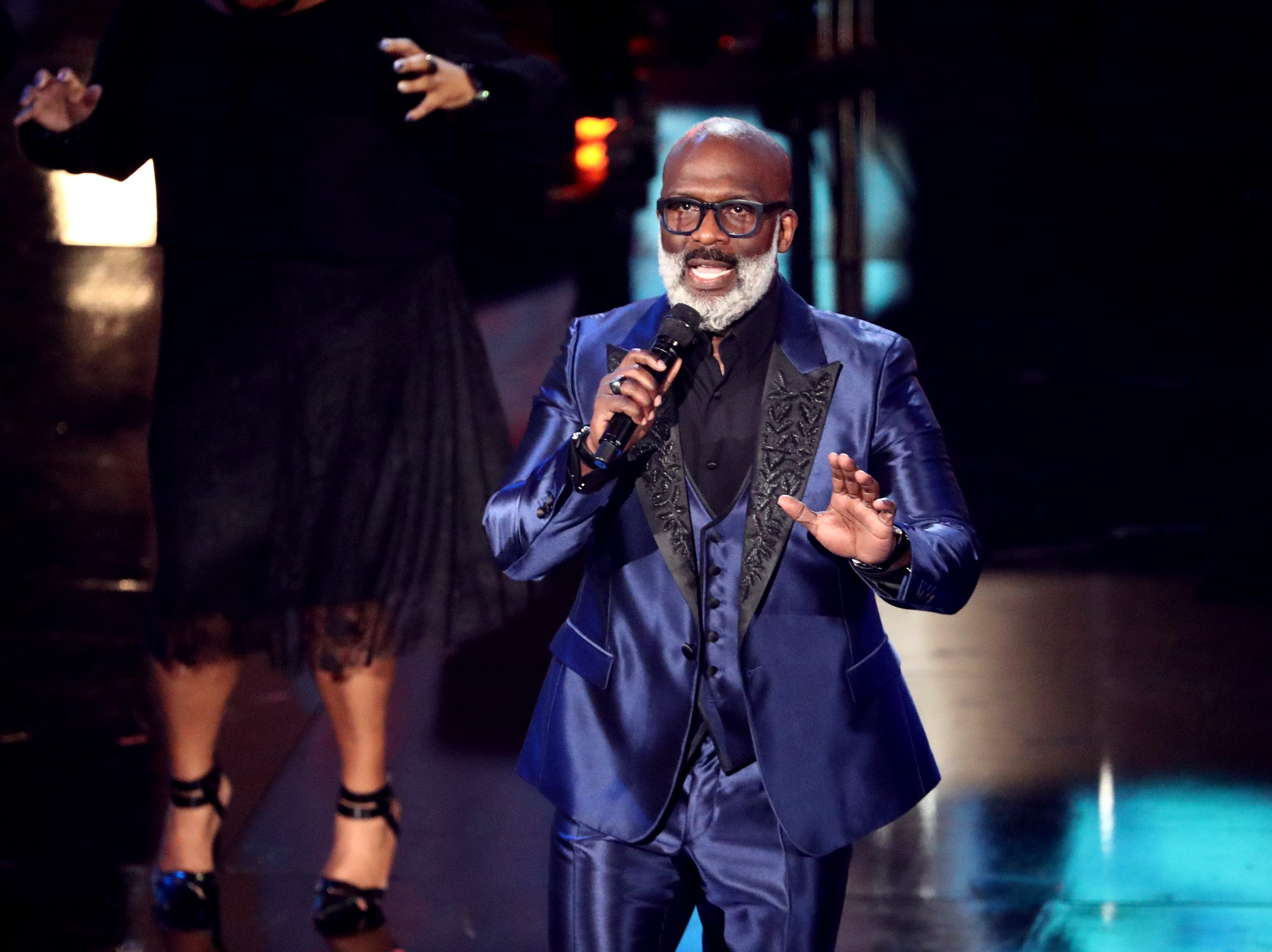 """LOS ANGELES, CA - JANUARY 13:  Bebe Winans performs at """"Aretha! A Grammy Celebration For the Queen Of Soul"""" at the Shrine Auditorium on Jan. 13, 2019, in Los Angeles, Calif."""