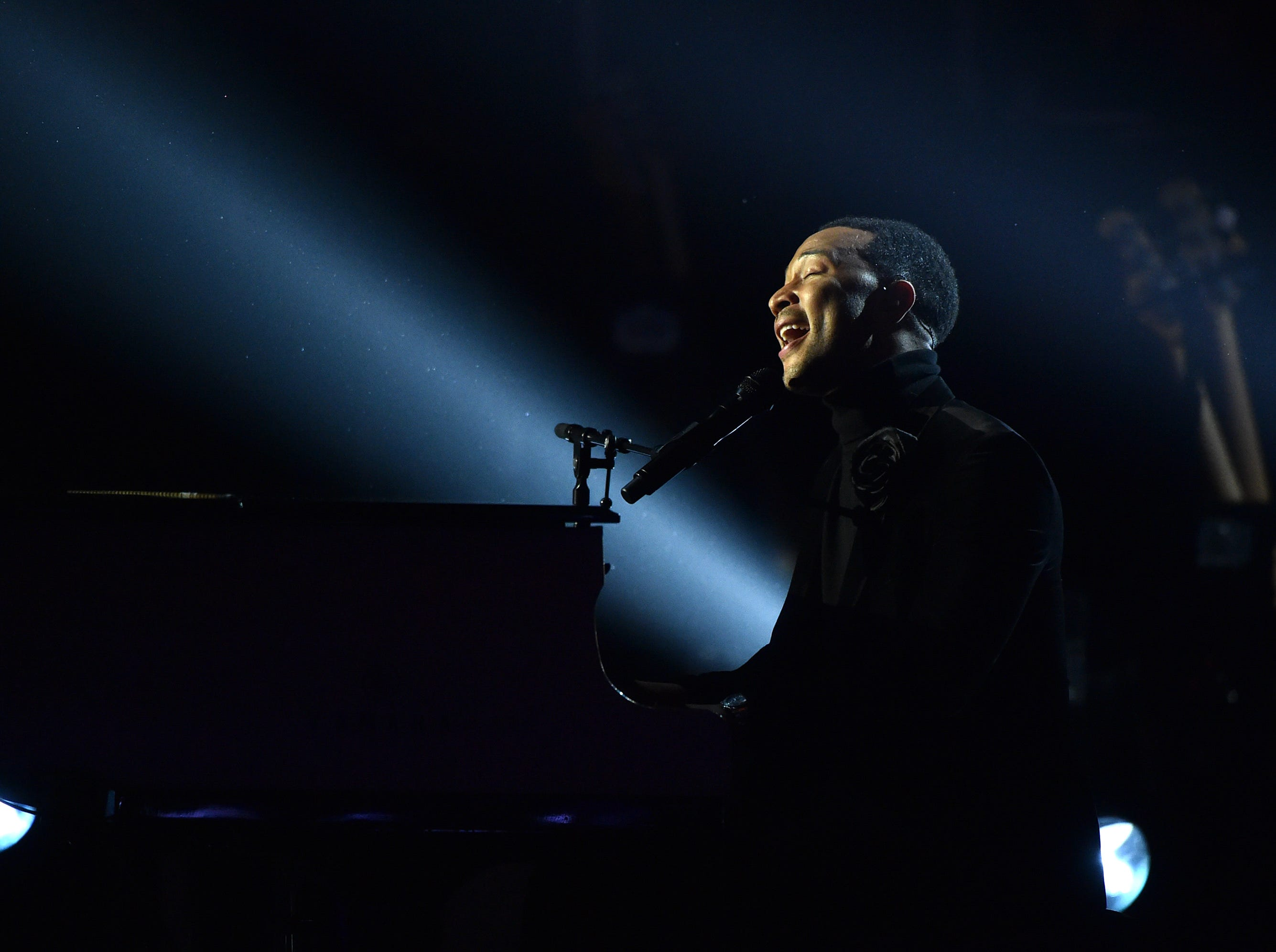 """LOS ANGELES, CA - JANUARY 13:  John Legend performs at """"Aretha! A Grammy Celebration For the Queen Of Soul"""" at the Shrine Auditorium on Jan. 13, 2019, in Los Angeles, Calif."""