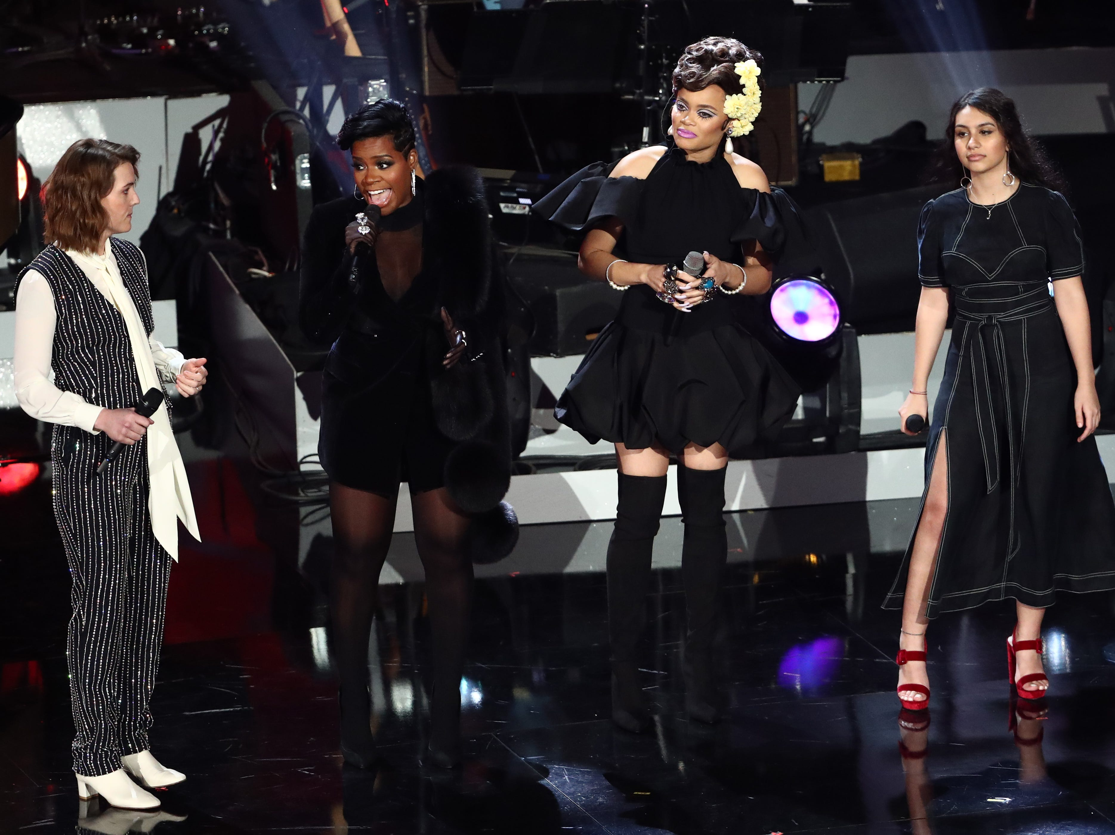 """LOS ANGELES, CA - JANUARY 13:  (L-R) Brandi Carlile, Fantasia, Andra Day and Alessia Cara perform at """"Aretha! A Grammy Celebration For the Queen Of Soul"""" at the Shrine Auditorium on Jan. 13, 2019, in Los Angeles, Calif."""
