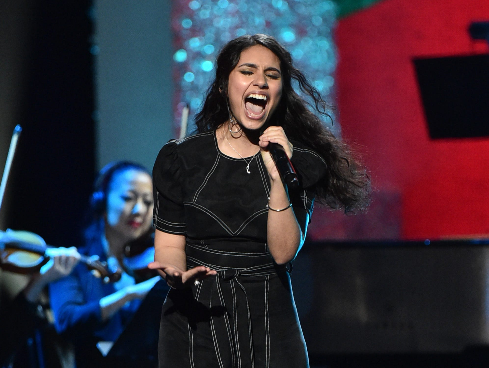 """LOS ANGELES, CA - JANUARY 13:  Alessia Cara performs at """"Aretha! A Grammy Celebration For the Queen Of Soul"""" at the Shrine Auditorium on Jan. 13, 2019, in Los Angeles, Calif."""