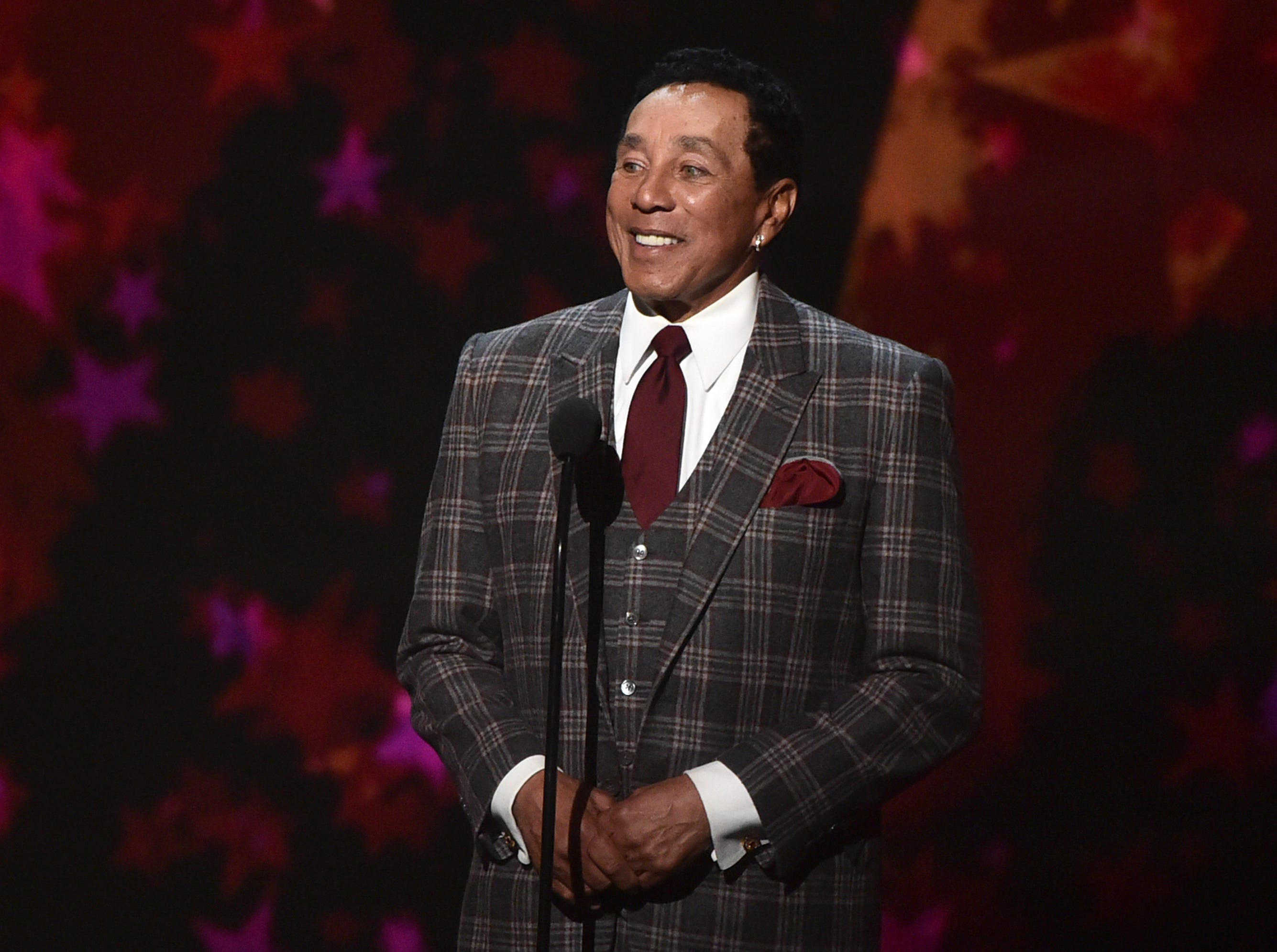 """LOS ANGELES, CA - JANUARY 13:  Smokey Robinson speaks at """"Aretha! A Grammy Celebration For the Queen Of Soul"""" at the Shrine Auditorium on Jan. 13, 2019, in Los Angeles, Calif."""