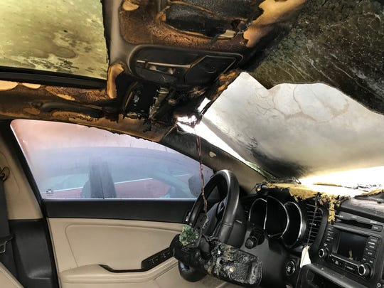 Matthew Rose was driving home from work in Grand Rapids on Feb. 28, 2019 when his Kia Optima stalled and he pulled to the side of the highway. He noticed smoke, then flames.