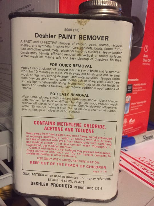 Paint remover with a label warning that it contains methylene chloride.