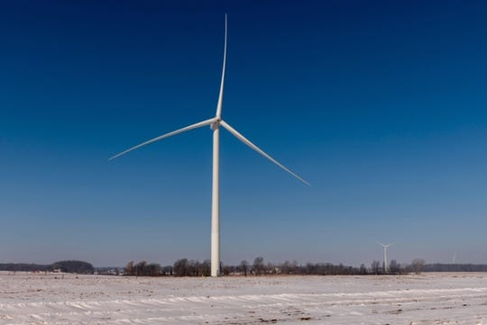 A turbine at Pine River Wind Park in Gratiot and Isabella counties.