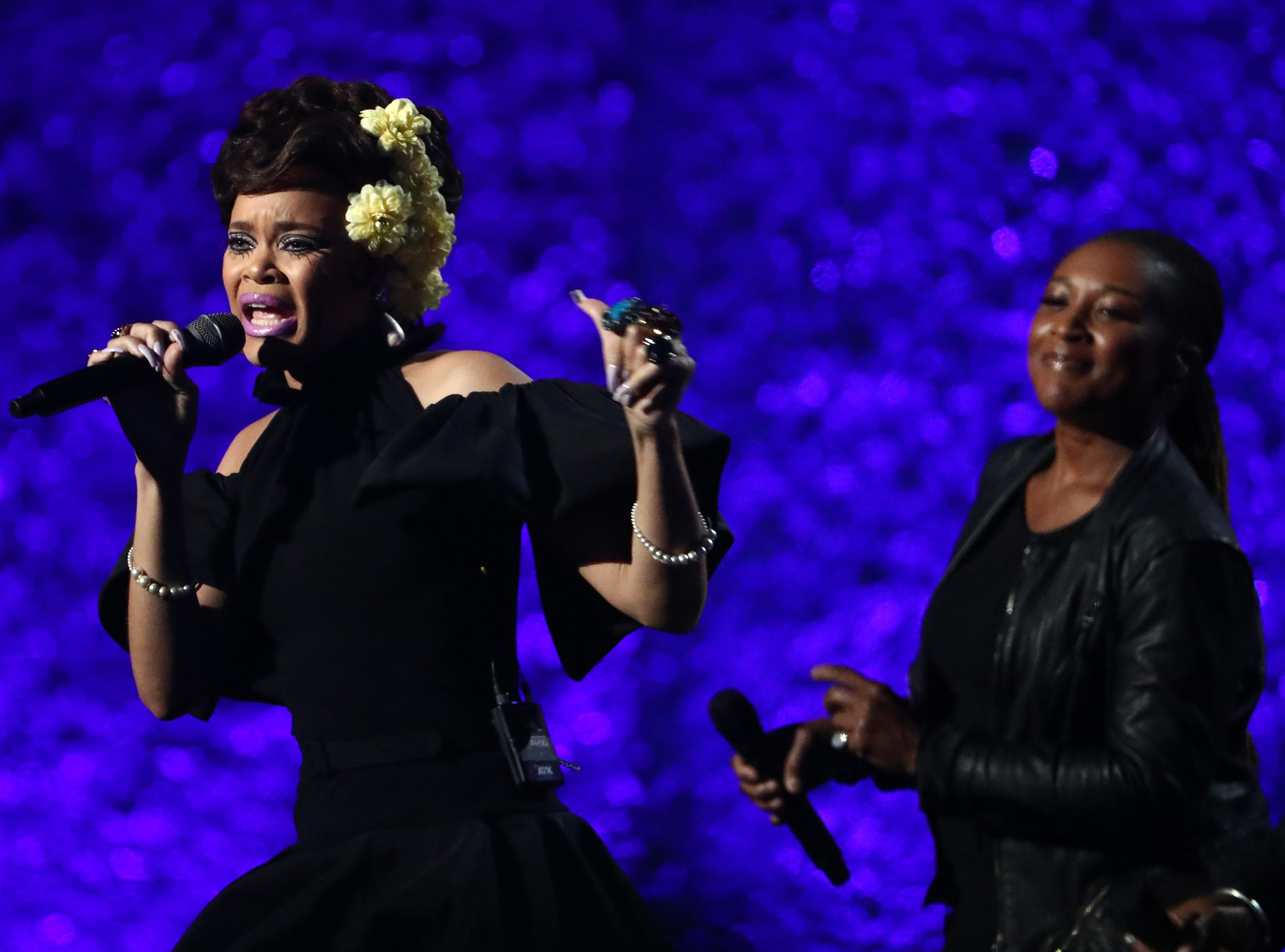 """LOS ANGELES, CA - JANUARY 13:  Andra Day performs at """"Aretha! A Grammy Celebration For the Queen Of Soul"""" at the Shrine Auditorium on Jan. 13, 2019, in Los Angeles, Calif."""