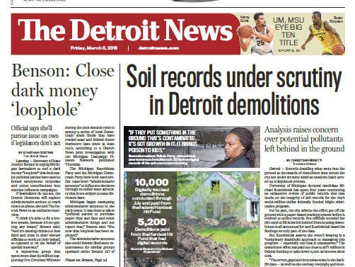 Front page of The Detroit News on Friday, March 8, 2019.