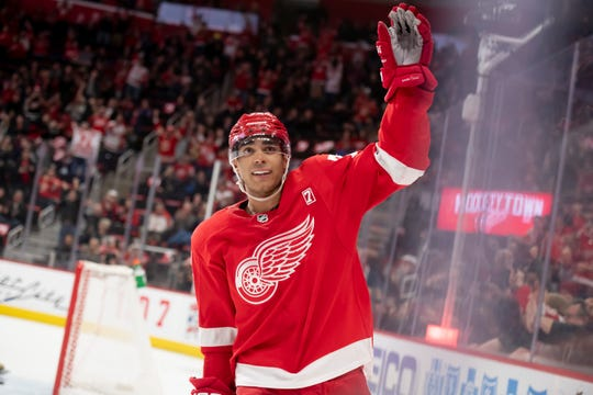 Detroit center Andreas Athanasiou celebrates his goal during the shootout.