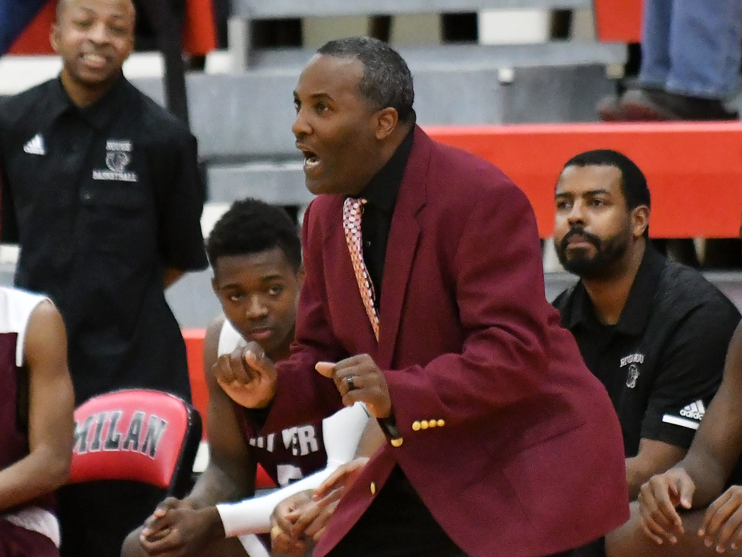 River Rouge head coach LaMonte Stone in the first half.