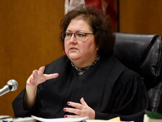Judge Margaret M. Van Houten talks about the selection of the jury and exhbits during the hearing Friday at Frank Murphy Hall of Justice in Detroit.