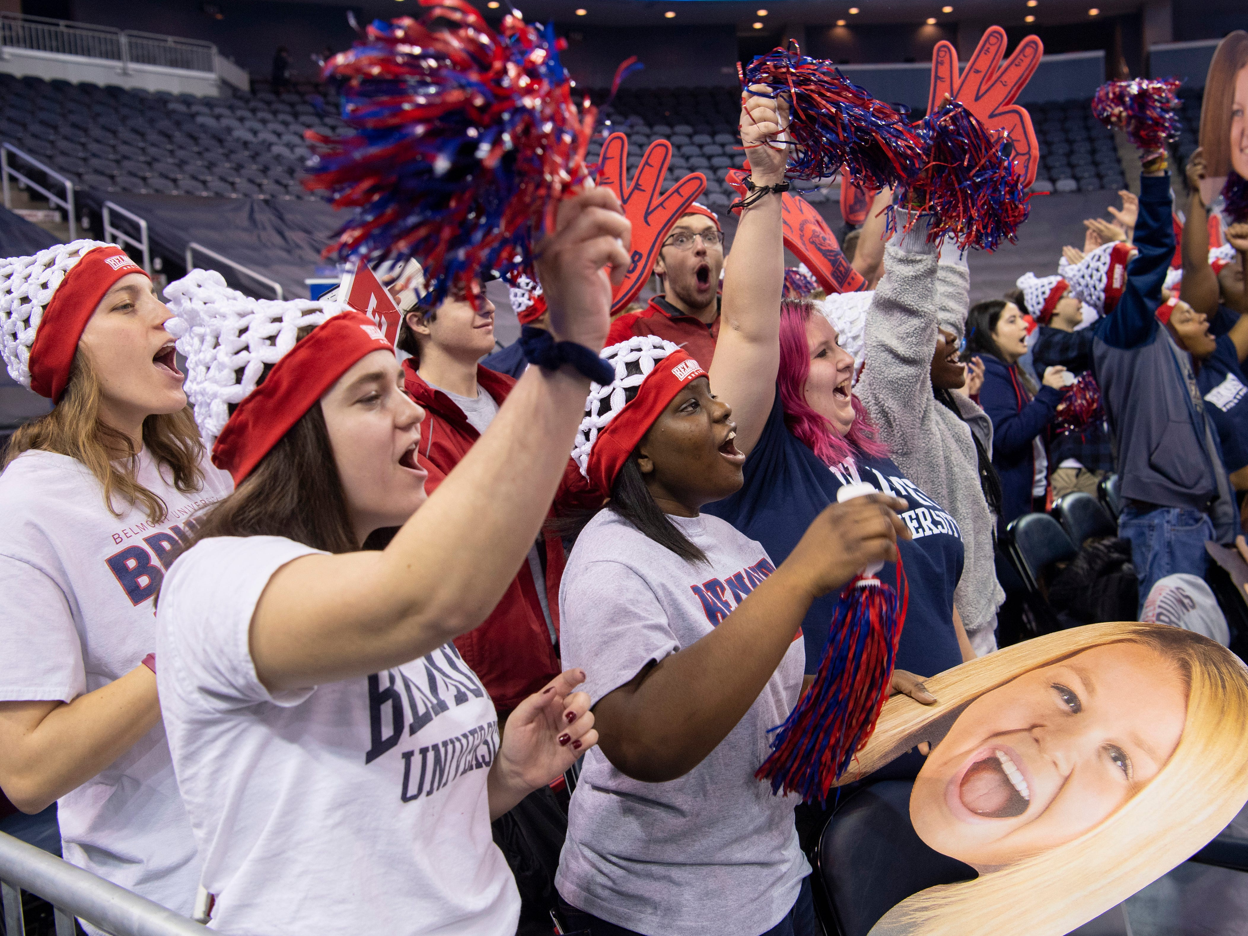 Belmont fans cheer it up after a three-pointer against Tennessee Tech during their semifinal Ohio Valley Conference game at the Ford Center Friday afternoon.