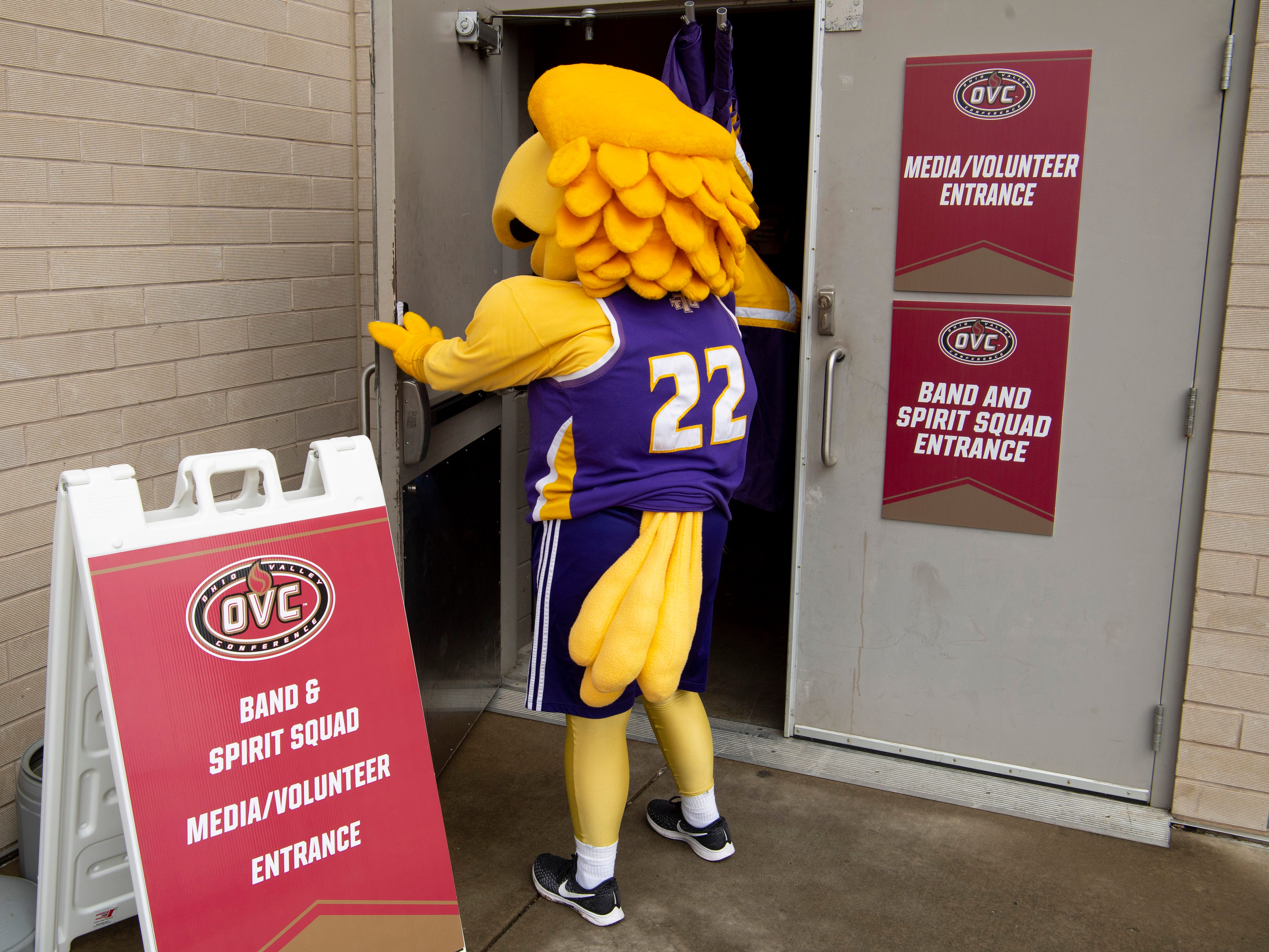 Awesome Eagle, Tennessee Tech University's mascot, arrives at the Ford Center in time for his team's semifinal game against Belmont University in the Ohio Valley Conference Basketball Championships Friday afternoon.