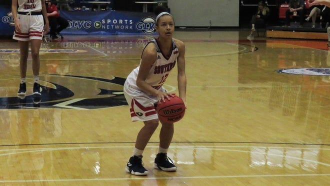 Ashley Johnson prepares to shoot a free throw during the first round of the GLVC tournament in Edwardsville, Illinois.