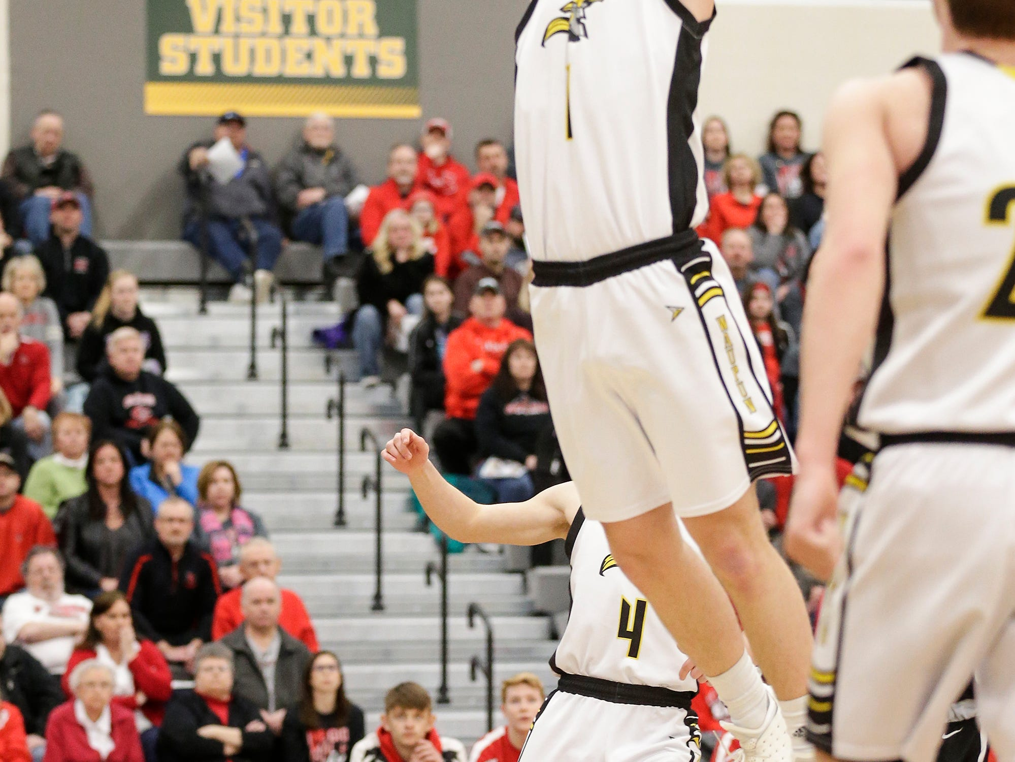 Waupun High School boys basketball's Marcus Domask dunks the ball against Columbus High School during their WIAA division 3 sectional semi-final game Thursday, March 7, 2019 in Beaver Dam, Wis. Waupun won the game 79-36. Doug Raflik/USA TODAY NETWORK-Wisconsin