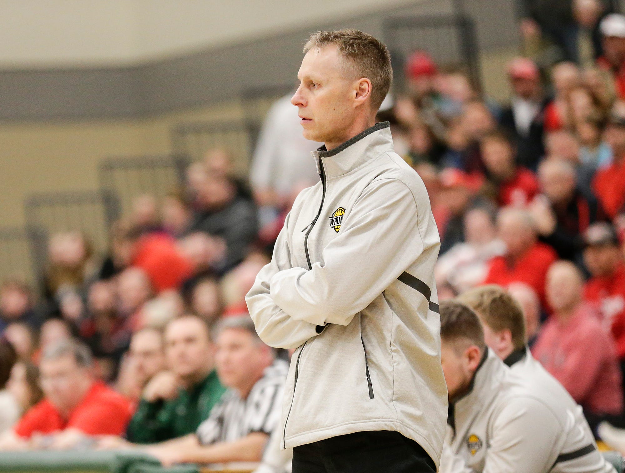 Waupun High School boys basketball coach Dan Domask watches his team play against Columbus High School during their WIAA division 3 sectional semi-final game Thursday, March 7, 2019 in Beaver Dam, Wis. Waupun won the game 79-36. Doug Raflik/USA TODAY NETWORK-Wisconsin