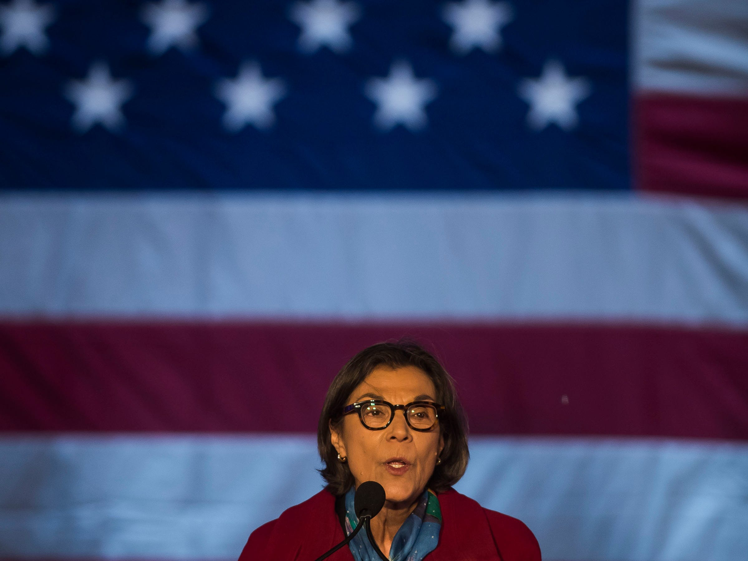 Former State Senate minority leader Reverend Lucia Guzman speaks at the John Hickenlooper presidential campaign kick-off rally on Thursday, March 7, 2019, at the Greek Ampitheatre in Civic Center Park in Denver, Colo.