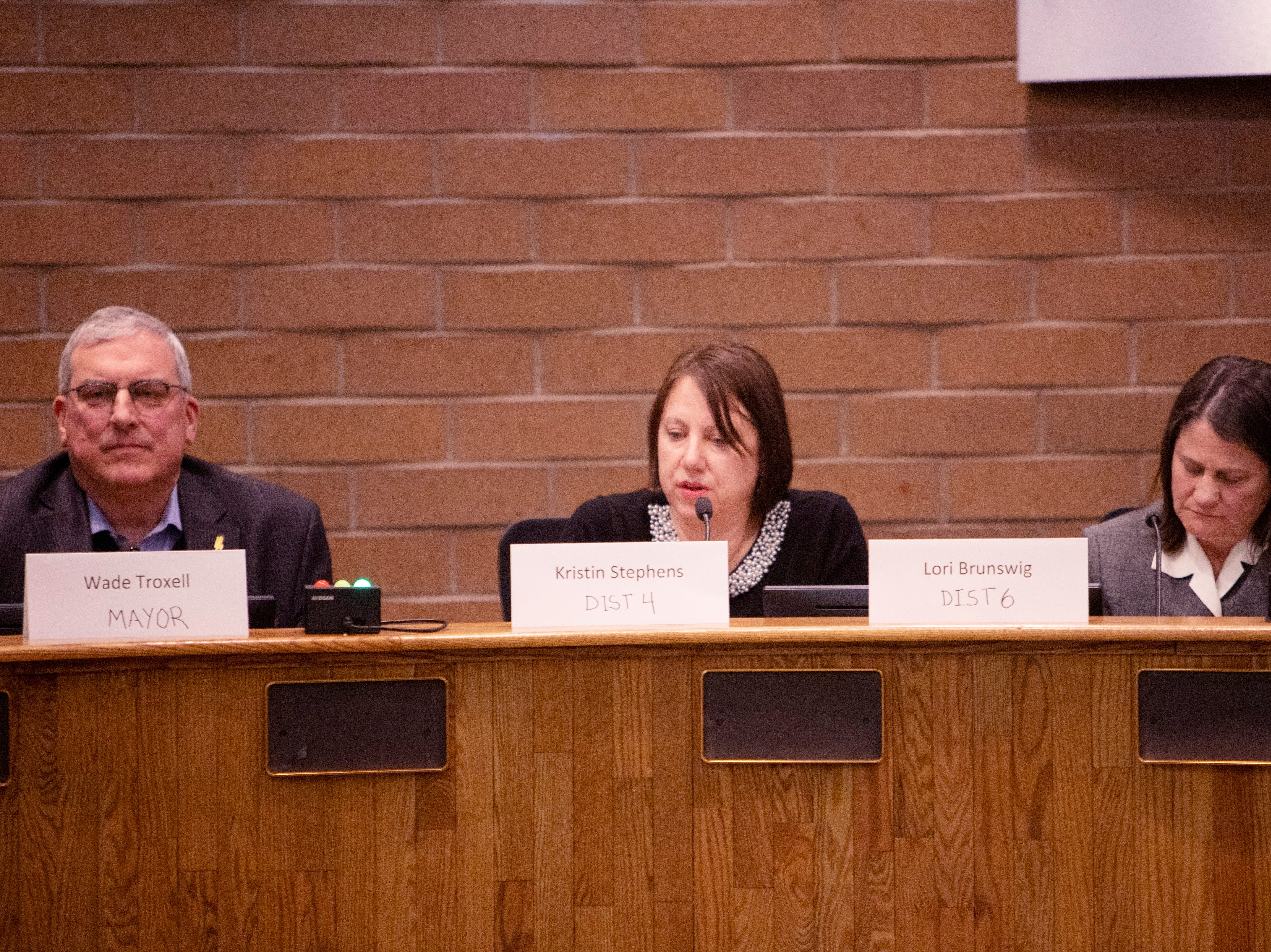 City Council member Kristin Stephens speaks during the candidate forum hosted by The League of  Women Voters of Larimer County at City Hall on March 6.