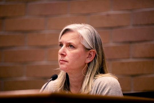 City Council candidate Julie Pignataro participates in the candidate forum hosted by The League of  Women Voters of Larimer County at City Hall on March 6.