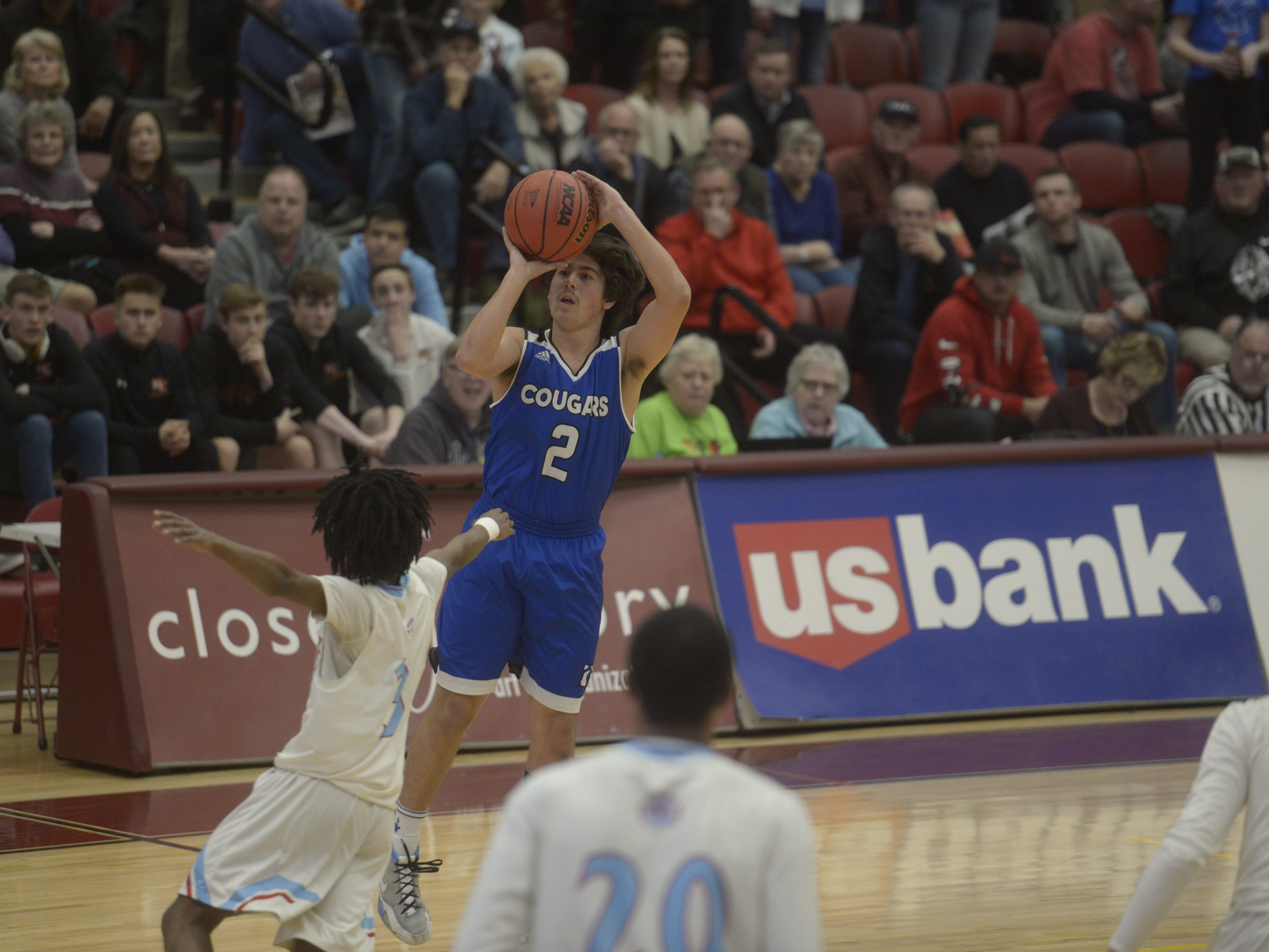 Resurrection Christian basketball guard Jackson Romero fires a 3-pointer during a Class 3A quarterfinals game against Manual at the University of Denver on Thursday, March 7, 2019.