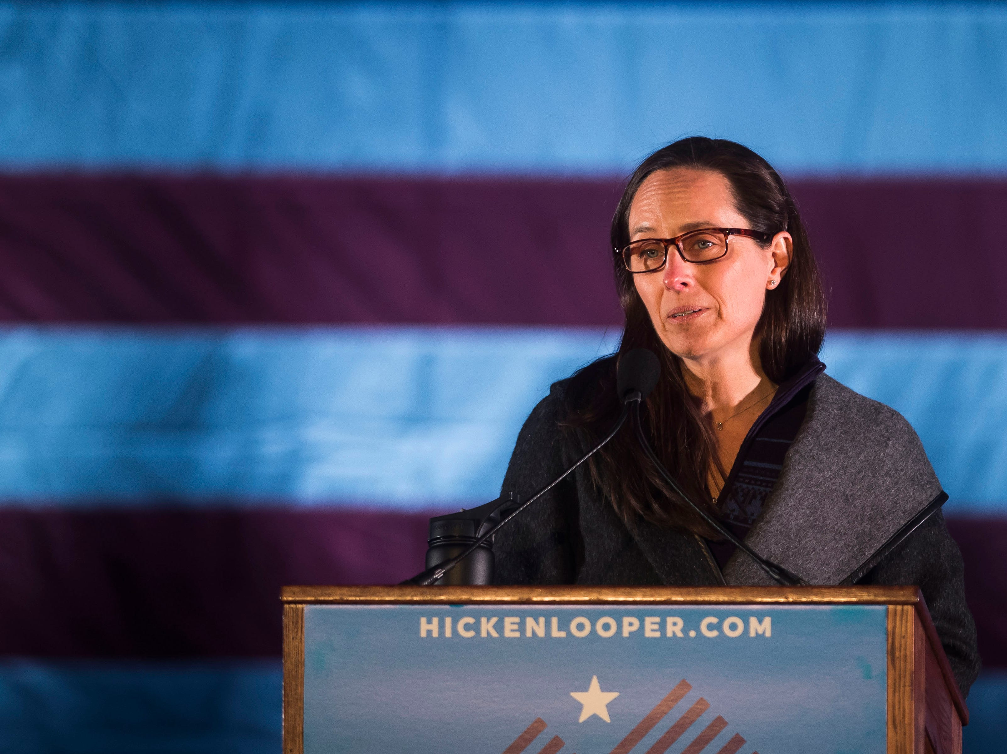 Former mayor of Jamestown, Colo., Tara Schoedinger speaks at the John Hickenlooper presidential campaign kick-off rally on Thursday, March 7, 2019, at the Greek Ampitheatre in Civic Center Park in Denver, Colo.