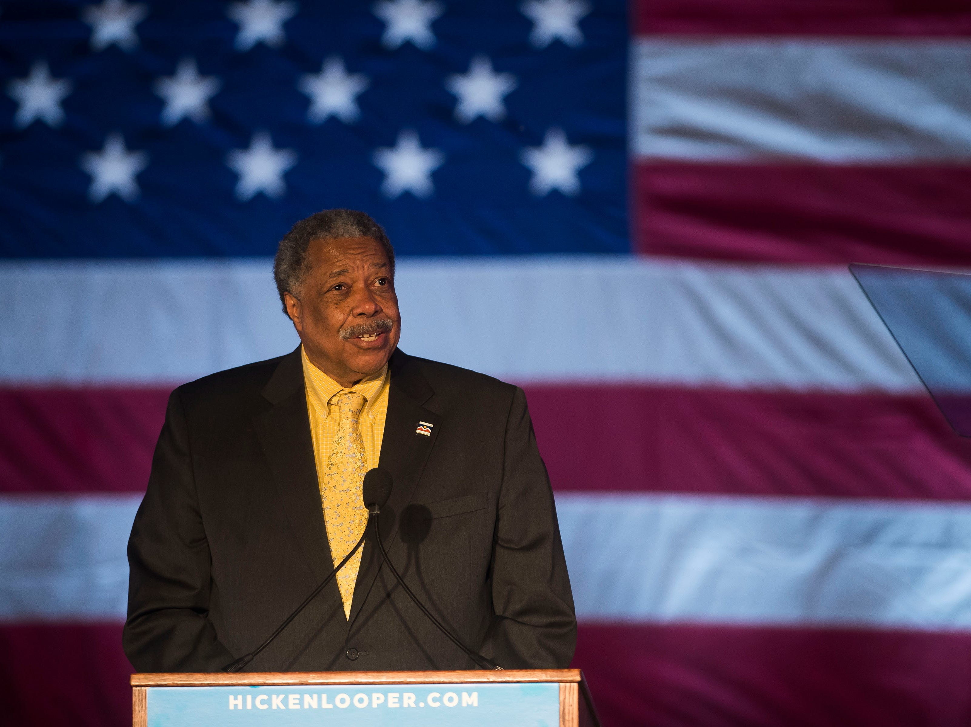 Former Denver mayor Weillington Webb speaks at the John Hickenlooper presidential campaign kick-off rally on Thursday, March 7, 2019, at the Greek Ampitheatre in Civic Center Park in Denver, Colo.