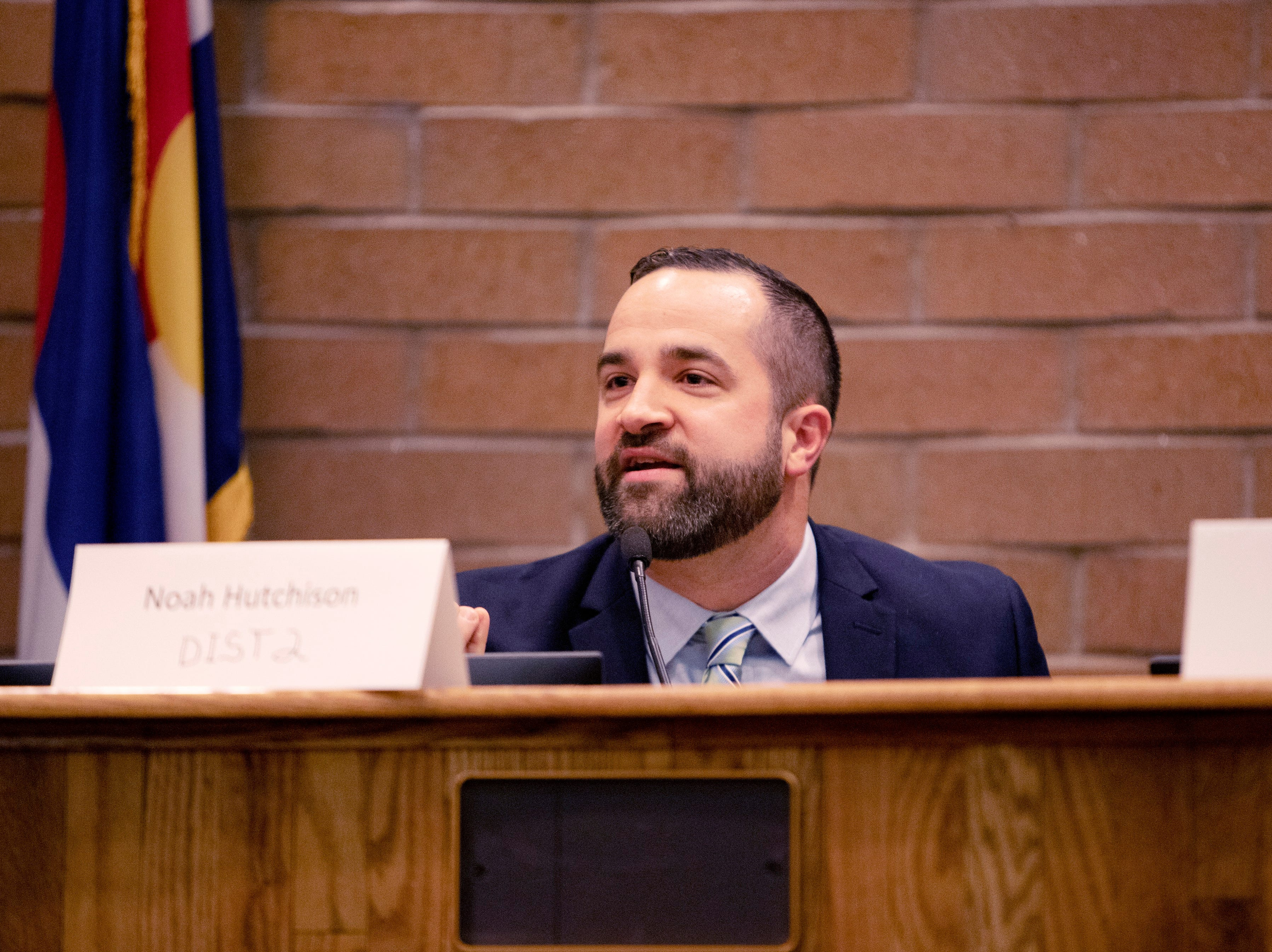 City Council candidate, Noah Hutchison participates in the candidate forum hosted by The League of  Women Voters of Larimer County at City Hall on March 6.