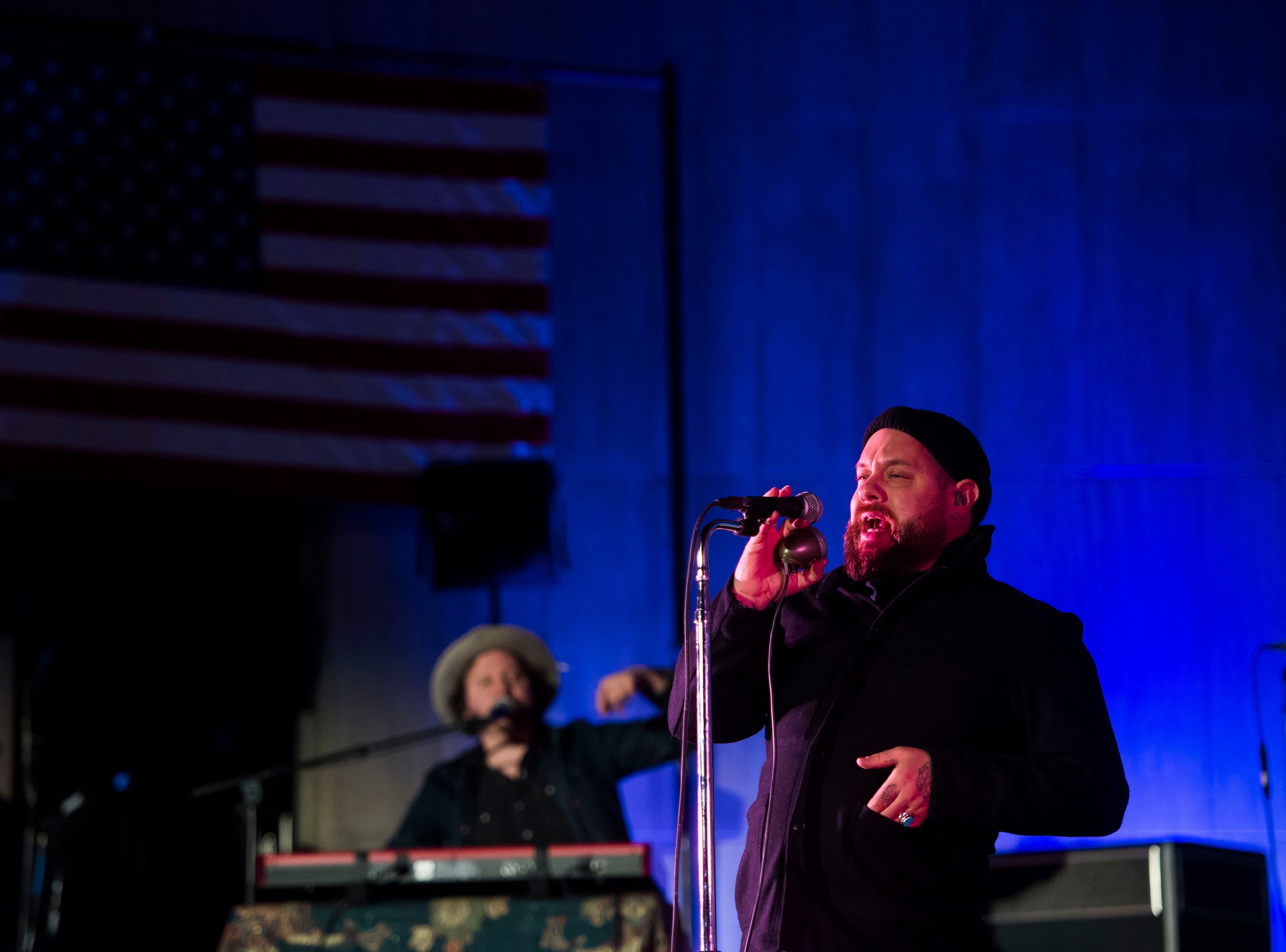 Nathaniel Rateliff performs at the John Hickenlooper presidential campaign kick-off rally on Thursday, March 7, 2019, at the Greek Ampitheatre in Civic Center Park in Denver, Colo.