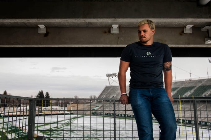 Colorado State University junior linebacker Max McDonald poses for a portrait at Canvas Stadium on Friday, March 8, 2019, in Fort Collins, Colo.