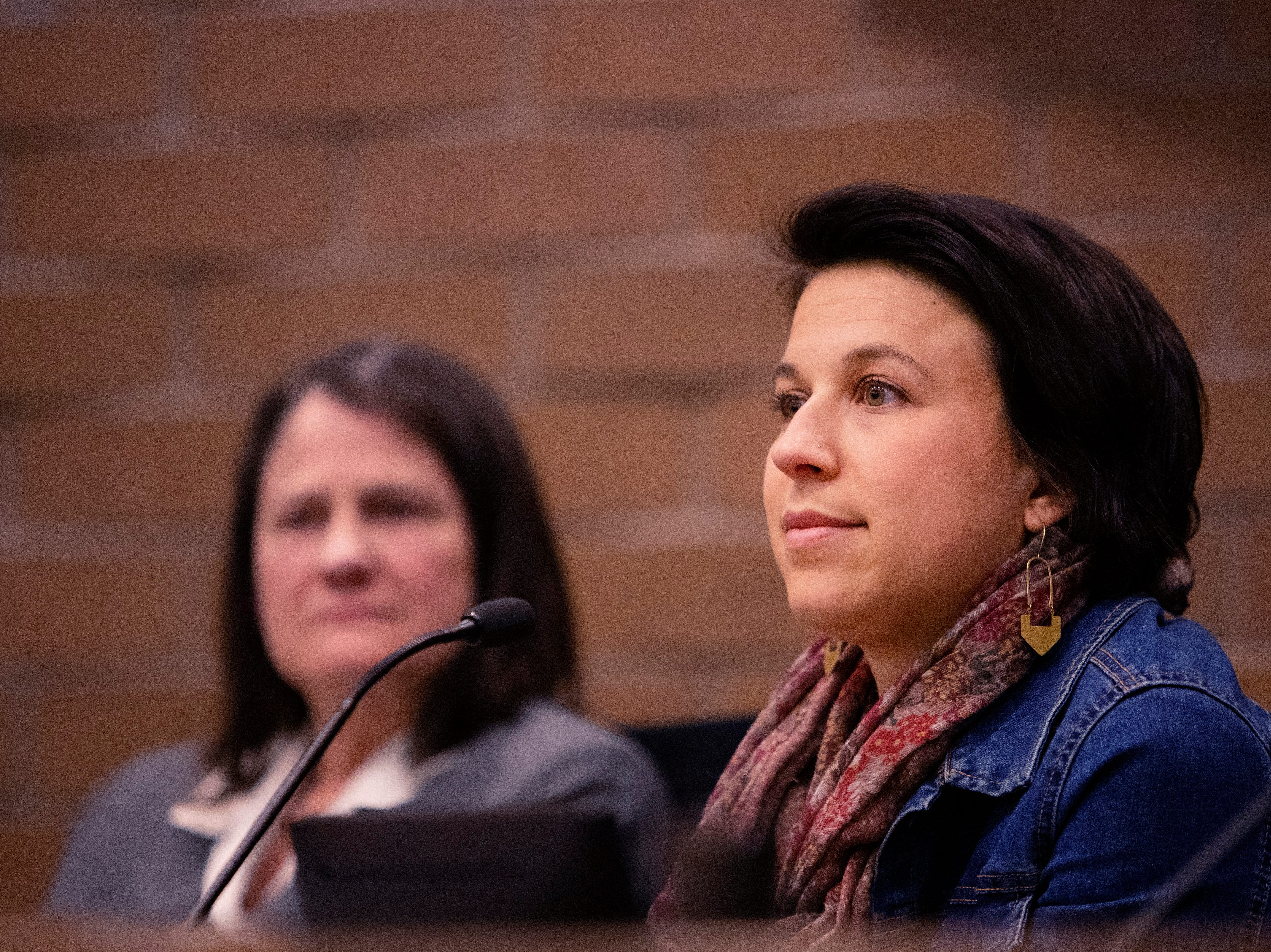 City Council candidate Emily Gorgol participates in the candidate forum hosted by The League of  Women Voters of Larimer County at City Hall on March 6.