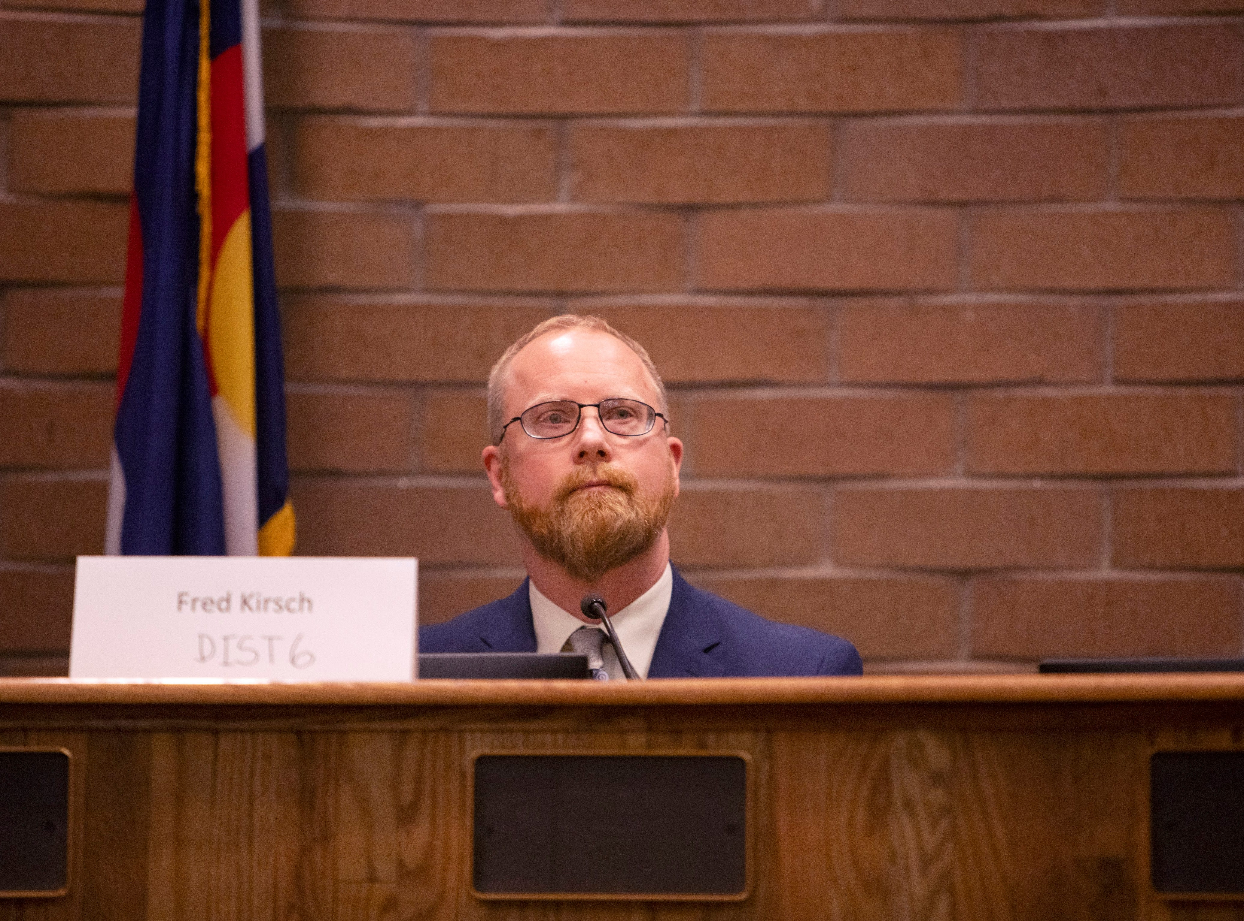 City Counsil candidate Fred Kirsch participates in the candidate forum hosted by The League of  Women Voters of Larimer County at City Hall on March 6.