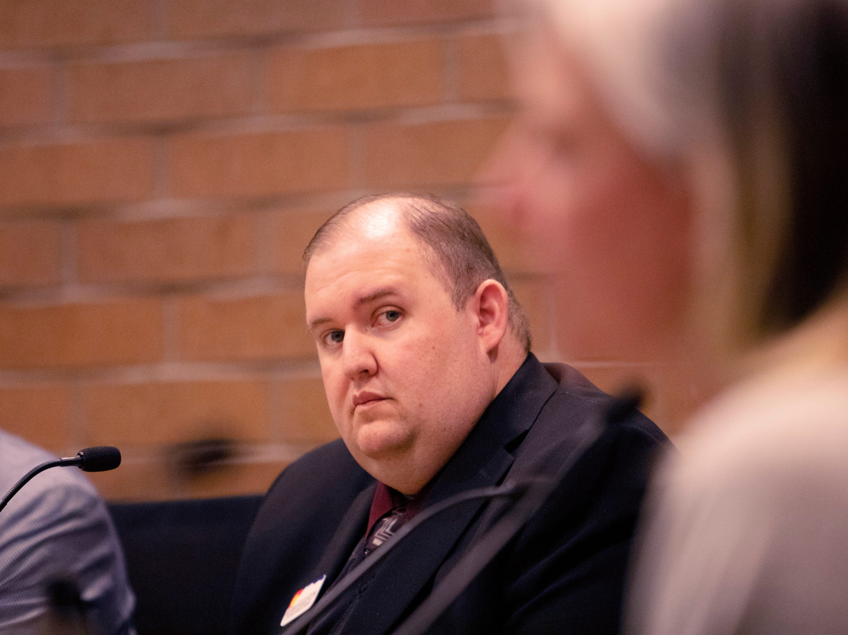 City Council candidate Adam Eggelston participates in the candidate forum hosted by The League of  Women Voters of Larimer County at City Hall on March 6.