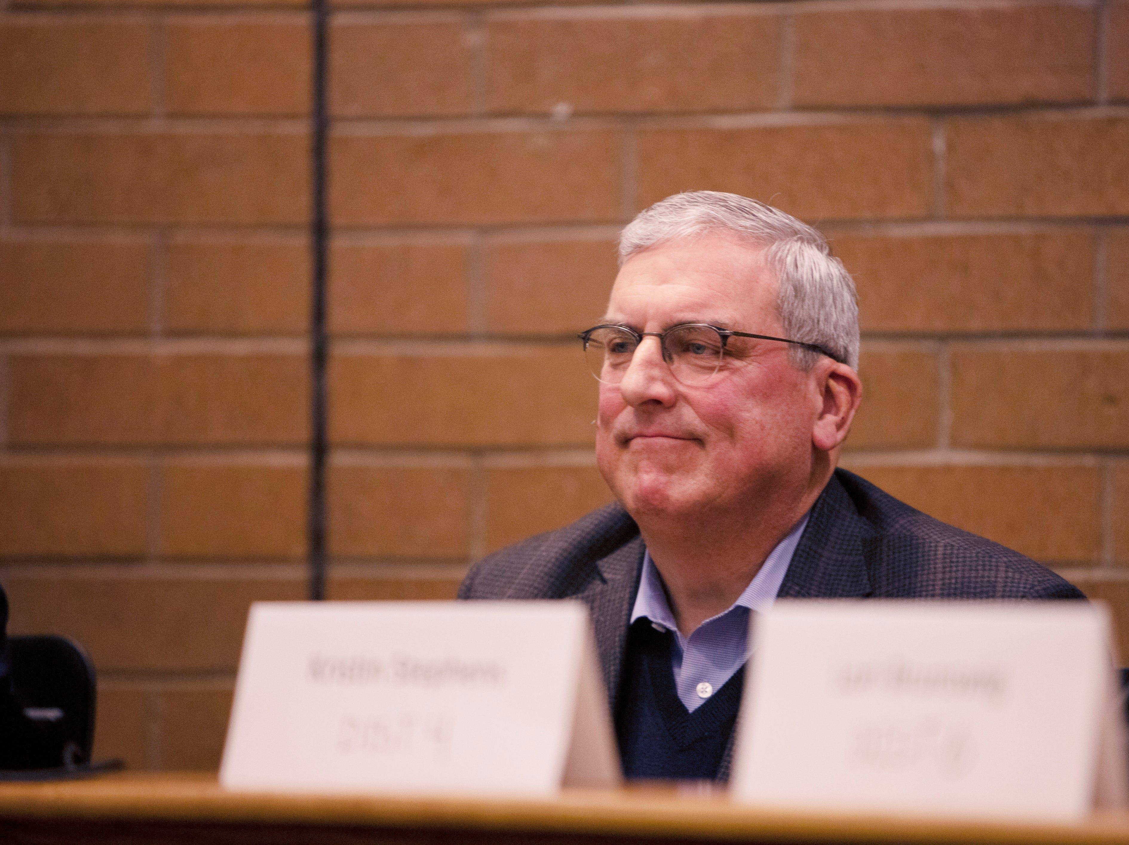 Mayor Wade Troxell participates in the candidate forum hosted by The League of Women Voters of Larimer County at City Hall on March 6.