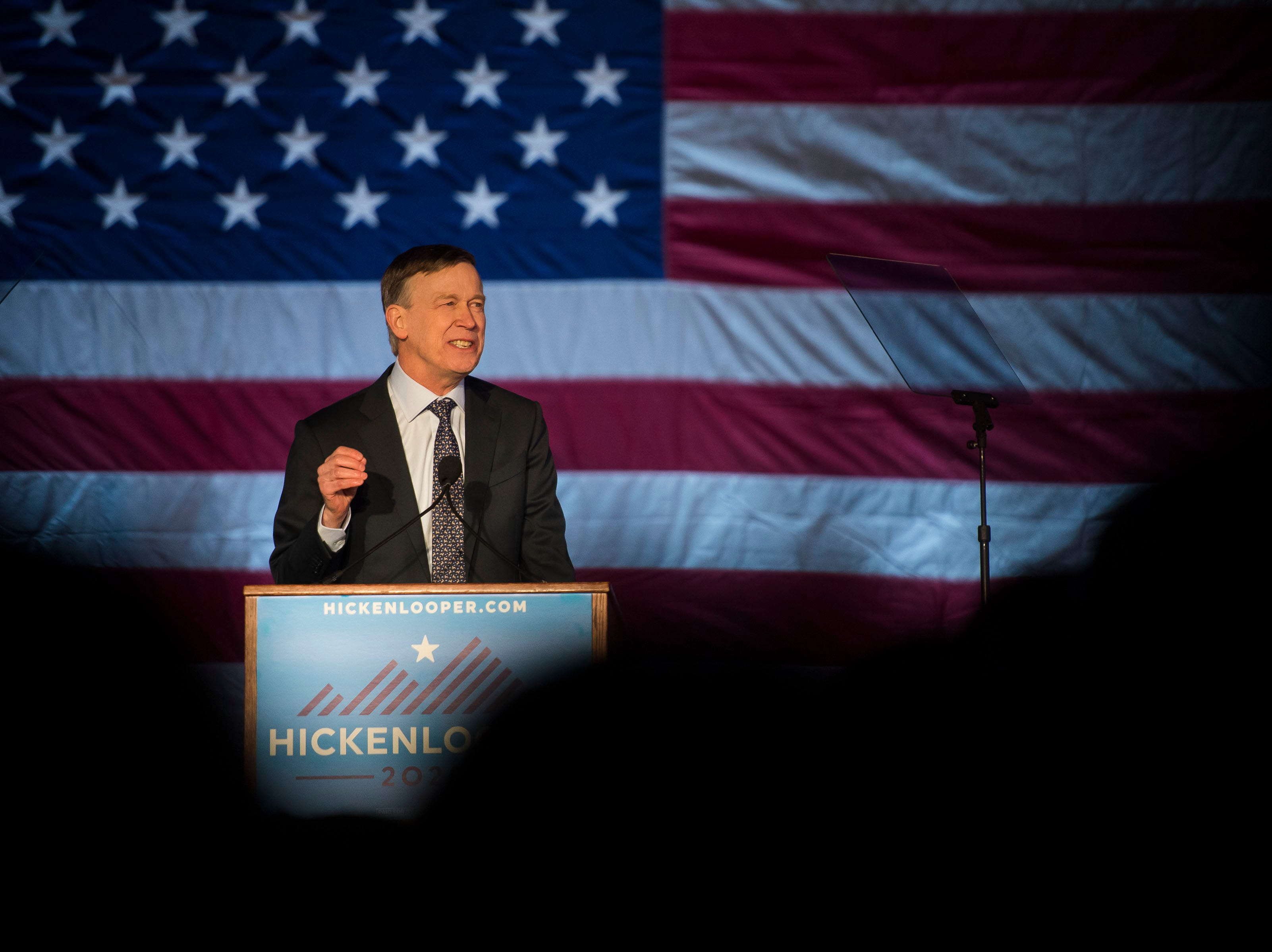 Former Colorado governor John Hickenlooper speaks during his presidential campaign kick-off rally on Thursday, March 7, 2019, at the Greek Ampitheatre in Civic Center Park in Denver, Colo.