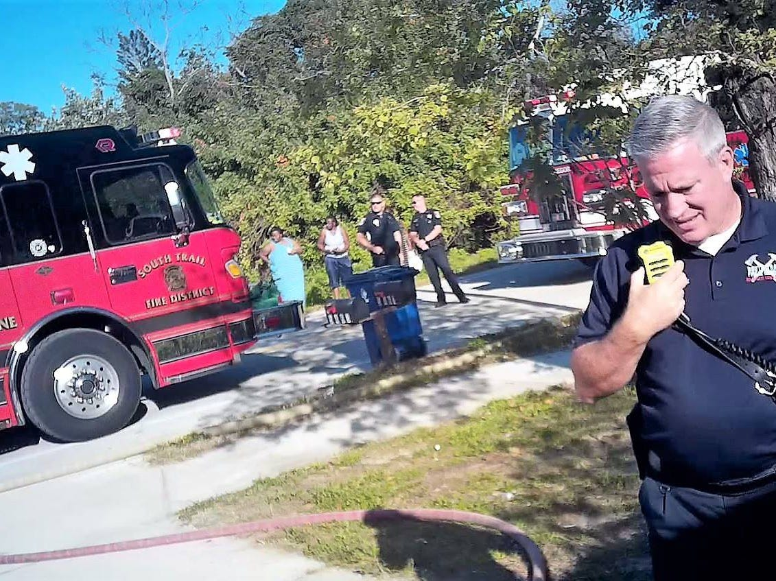 South Trail Fire Protection & Rescue Service District respond to a structure fire in Pine Manor.