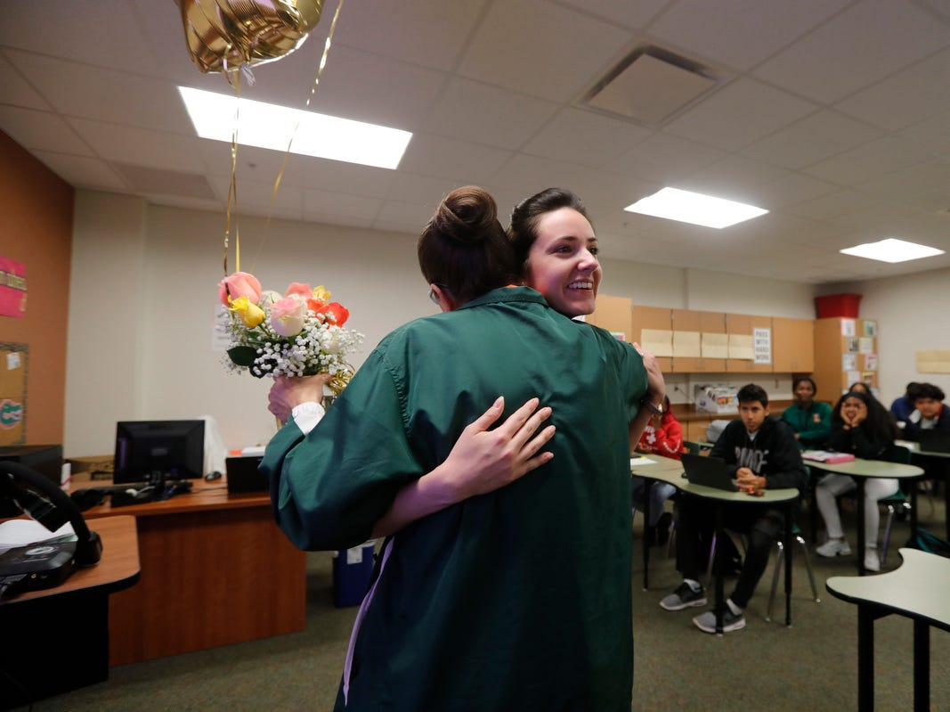 Dunbar High School teacher Amanda Rose was surprised Friday morning, March 8, 2019, as she was awarded the Golden Apple in front of her students. The 2019 Golden Apple Teacher Recognition Awards were presented by The Foundation for Lee County Public Schools. This year's winners also included: Stacey Anderson of The Alva School; Courtney Black of Allen Park Elementary; Kristina Caudill of Heights Elementary; Kristina Gale of Gulf Elementary; and James Rose of Ray V. Pottorf Elementary.
