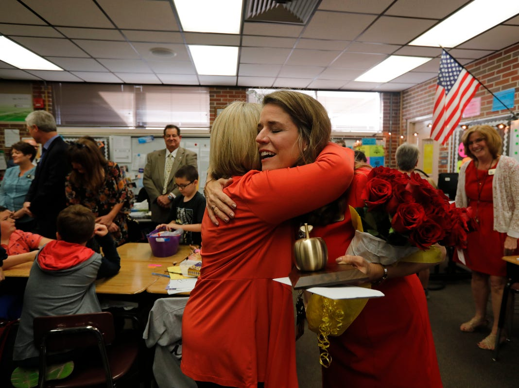 Allen Park Elementary teacher Courtney Black was surprised Friday morning, March 8, 2019, as she was awarded the Golden Apple in front of her students. The 2019 Golden Apple Teacher Recognition Awards were presented by The Foundation for Lee County Public Schools. This year's winners also included: Stacey Anderson of The Alva School; Kristina Caudill of Heights Elementary; Kristina Gale of Gulf Elementary; Amanda Rose of Dunbar High School; and James Rose of Ray V. Pottorf Elementary.