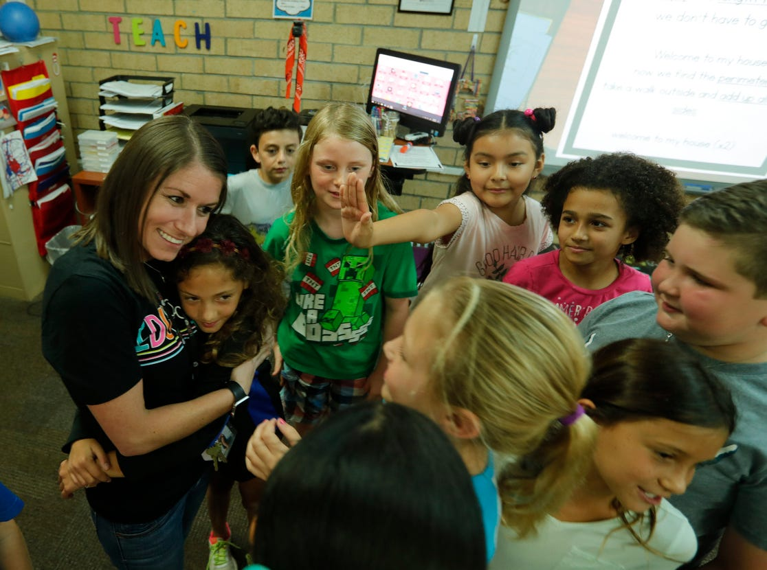Gulf Elementary teacher Kristina Gale was surprised Friday morning, March 8, 2019, as she was awarded the Golden Apple in front of her students. The 2019 Golden Apple Teacher Recognition Awards were presented by The Foundation for Lee County Public Schools. This year's winners also included: Stacey Anderson of The Alva School; Courtney Black of Allen Park Elementary; Kristina Caudill of Heights Elementary; Amanda Rose of Dunbar High School; and James Rose of Ray V. Pottorf Elementary.