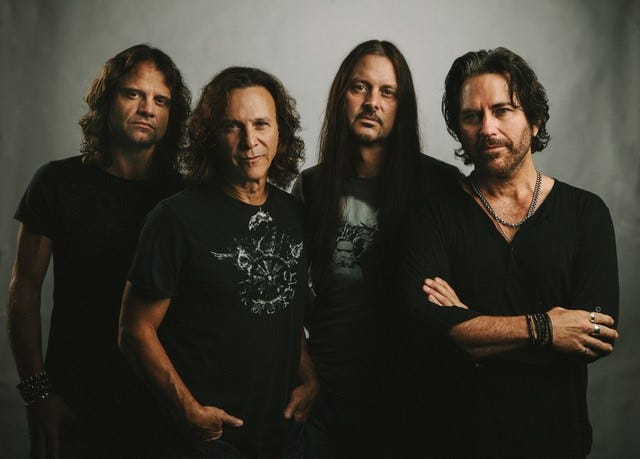 Kip Winger, far right, and his band, Winger, perform Thursday, March 21, at Barbara  B. Mann Performing Arts Hall.