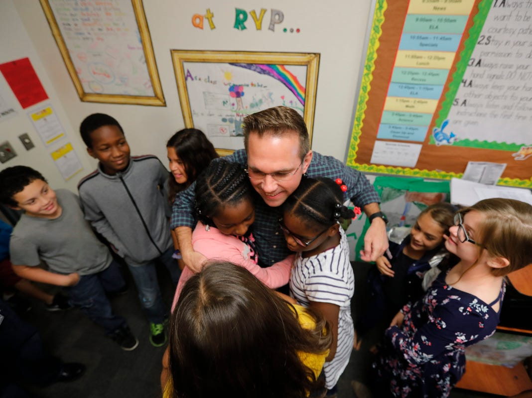 Ray V. Pottorf Elementary teacher James Rose was surprised Friday morning, March 8, 2019, as he was awarded the Golden Apple in front of his students. The 2019 Golden Apple Teacher Recognition Awards were presented by The Foundation for Lee County Public Schools. This year's winners also included: Stacey Anderson of The Alva School; Courtney Black of Allen Park Elementary; Kristina Caudill of Heights Elementary; Kristina Gale of Gulf Elementary; and Amanda Rose of Dunbar High School.