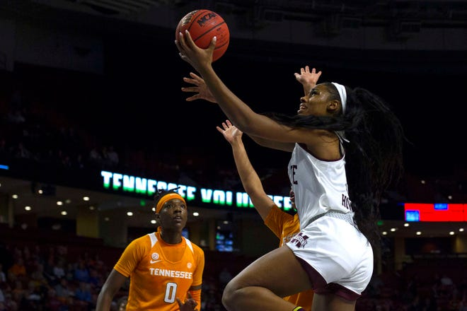 Mississippi State forward Anriel Howard (5) attempts the shot while being defended by Tennessee forward Mimi Collins (4) during the women's SEC Conference Tournament at Bon Secours Wellness Arena. Bulldogs won 83-68.