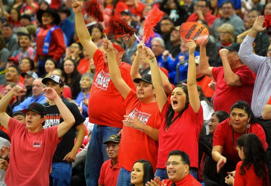 Browning fans cheer during Thrusday's game against Hardin at the Class A State Basketball Tournament.