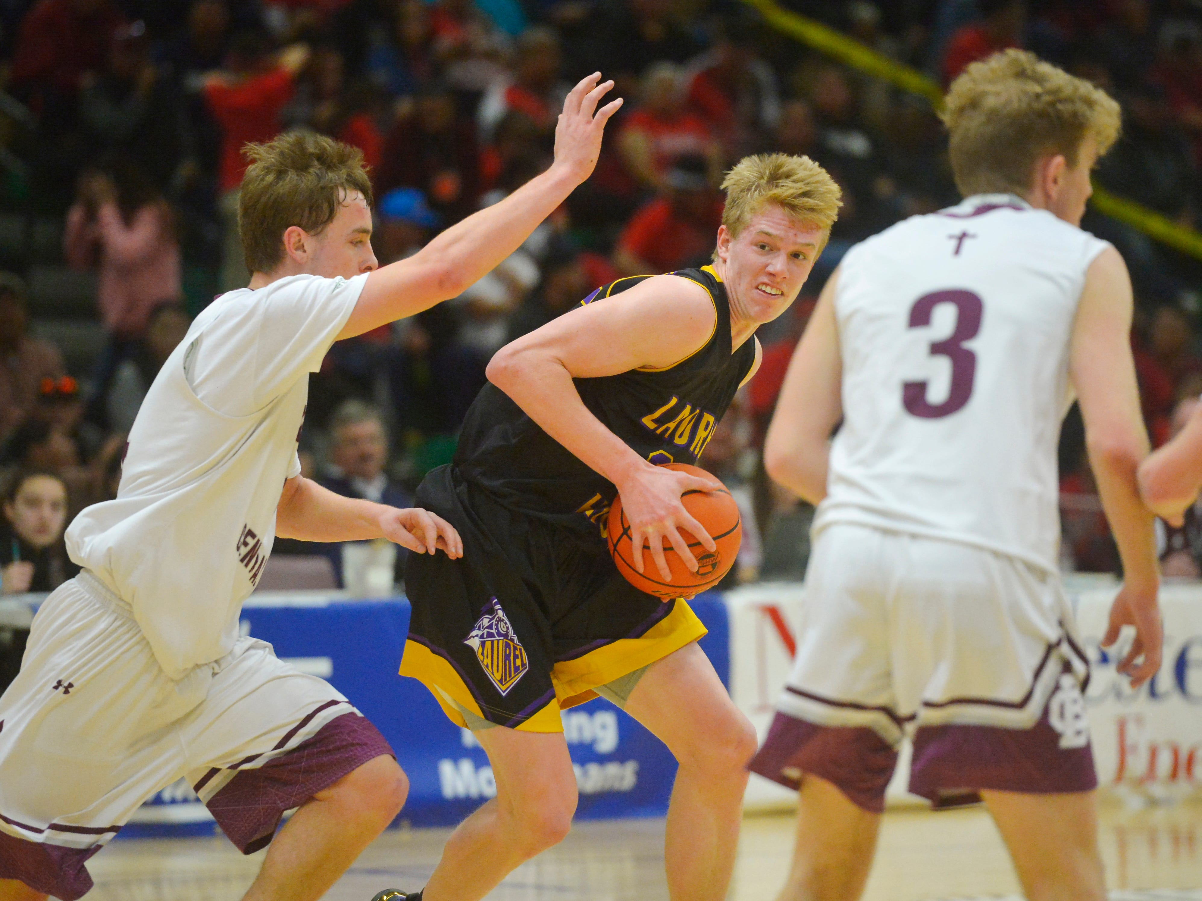 Laurel's Colter Bales works in the post during Thursdsay's game against Butte Central at the Class A State Basketball Tournament, Thursday, in the Four Seasons Arena.