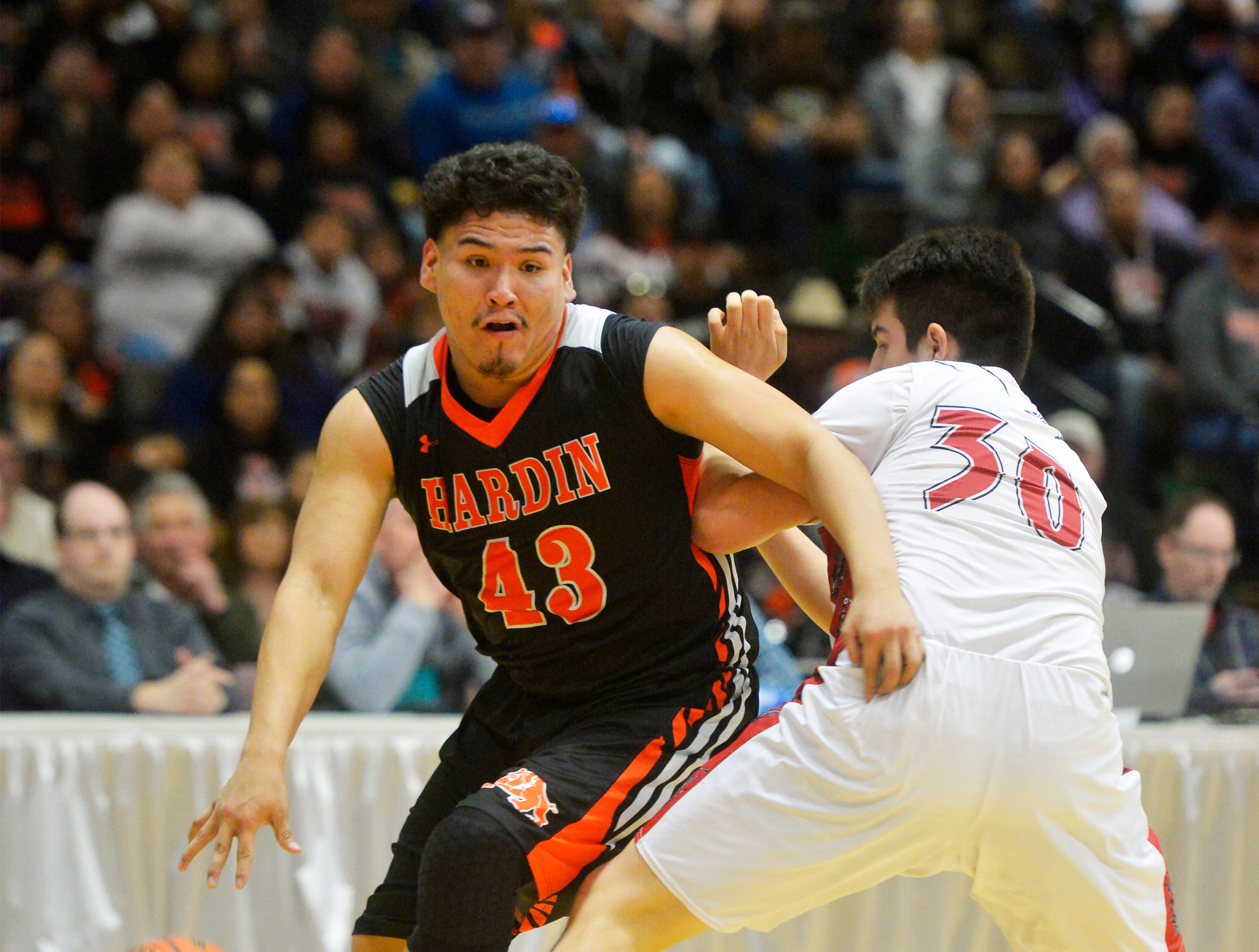 Browning and Hardin play in the first round of the Class A Boys State Basketball Tournament, Thursday.