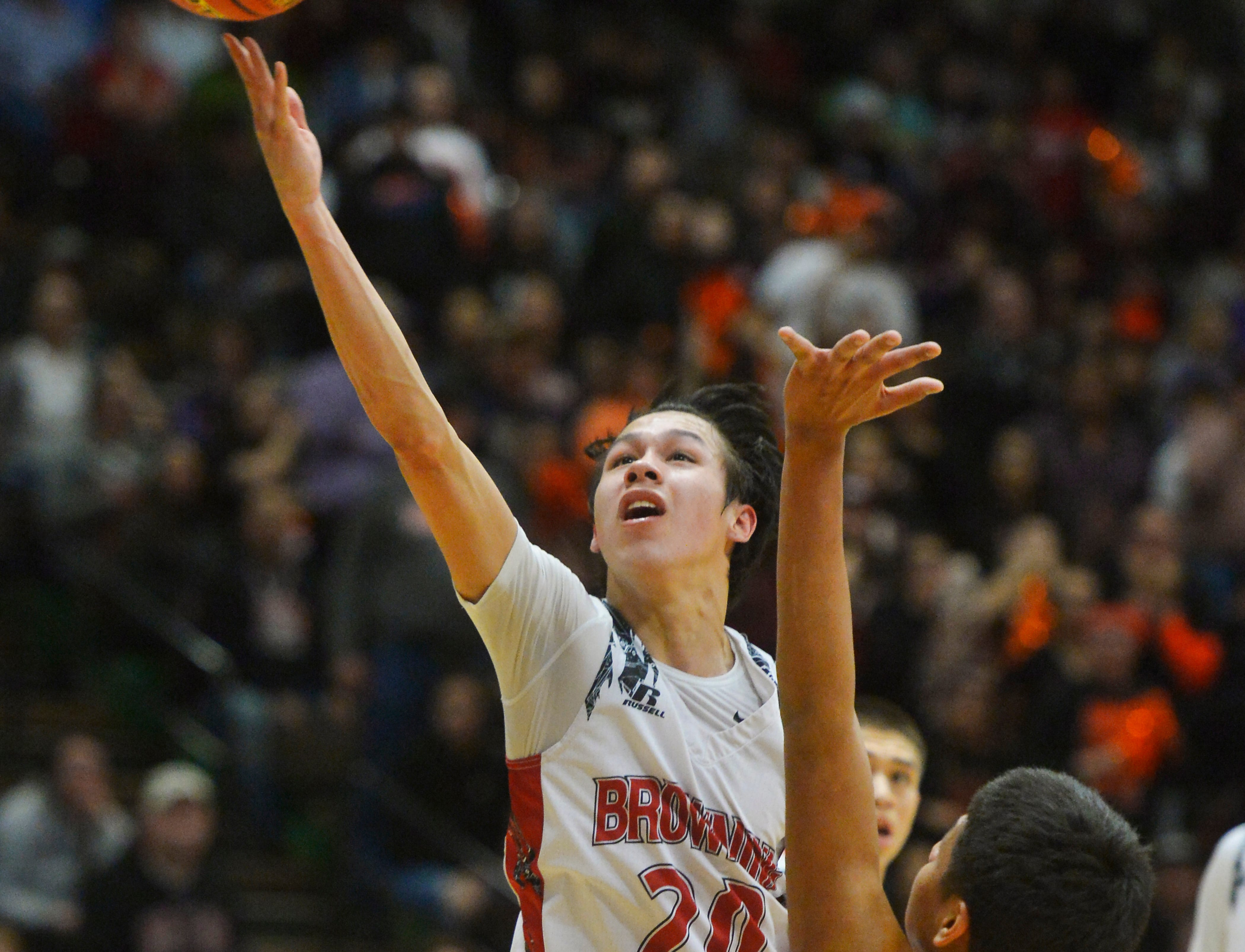 Browning's CJ Smith shoots during Thursday's game against Hardin at the Class A State Basketball Tournament.